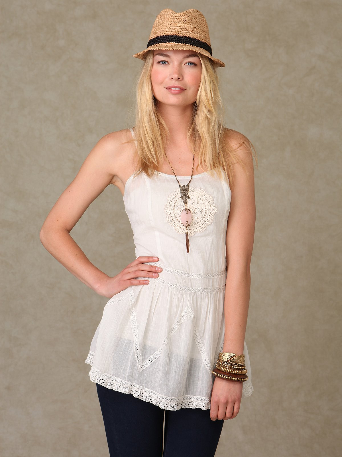 Sleeveless Sheer Medallion Tunic