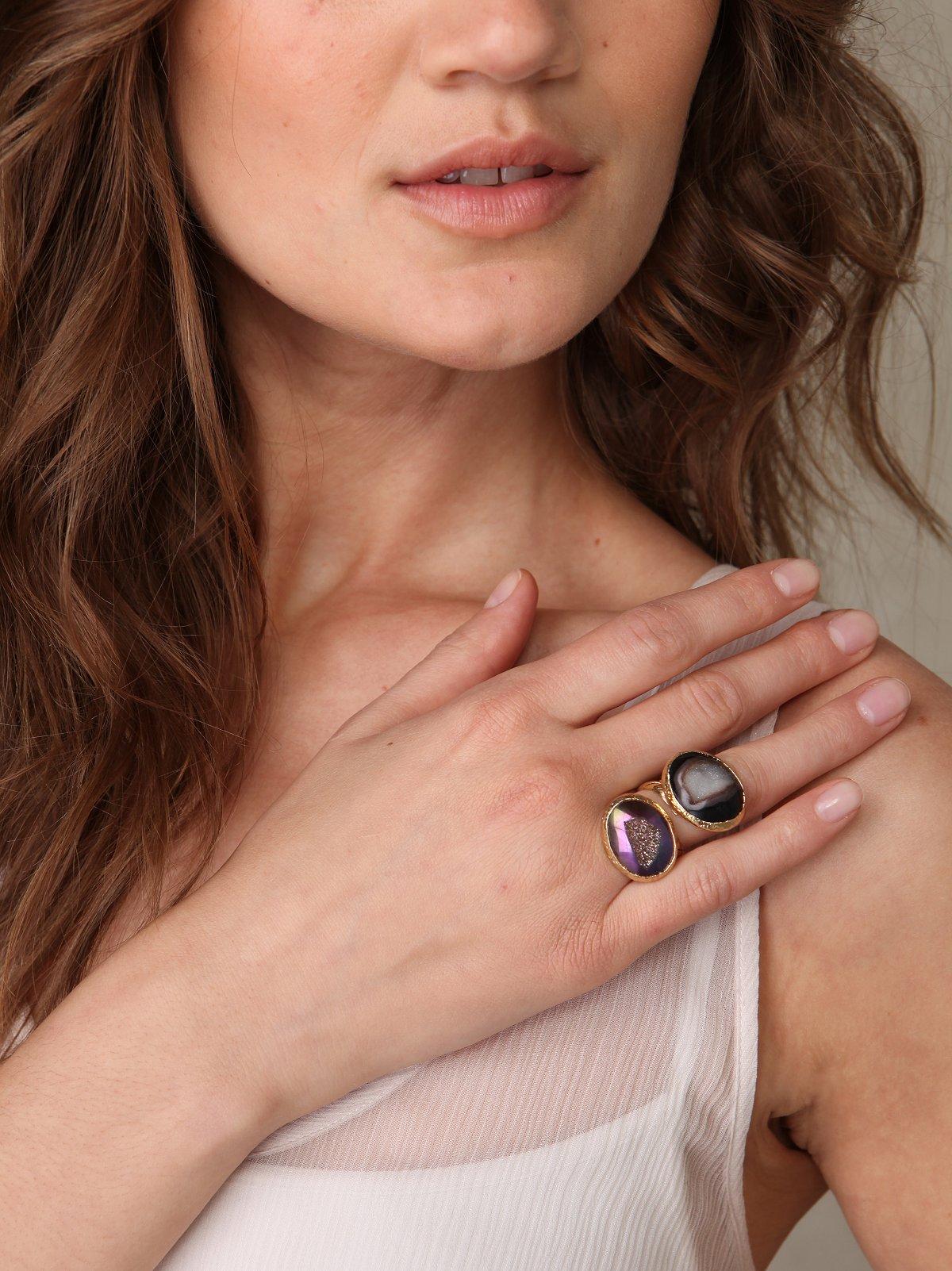 Druzy Petals Ring