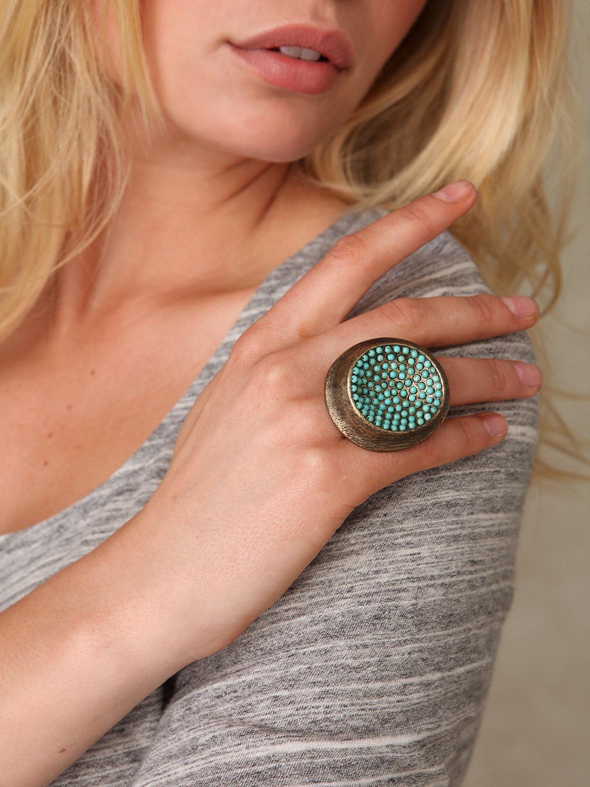 Turquoise Dot Disc Ring