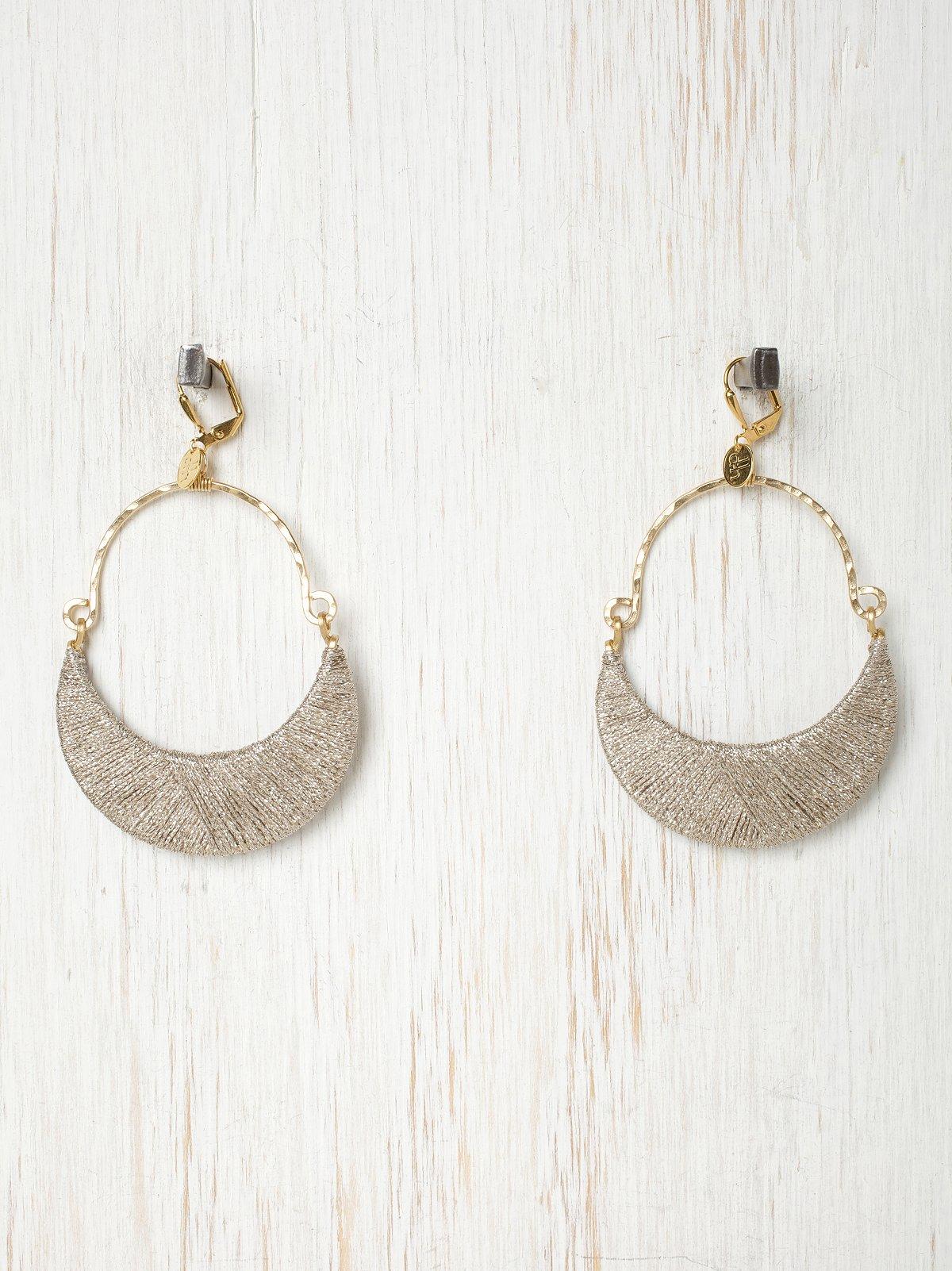 Metallic Thread Wrapped Hoop Earrings