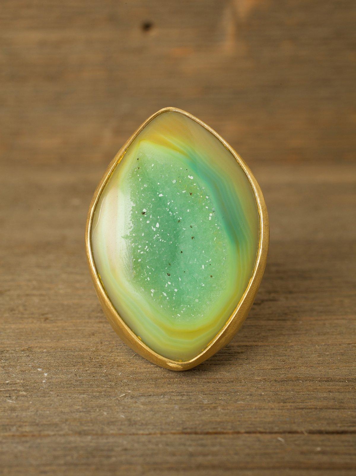 Green Almond Druzy Ring