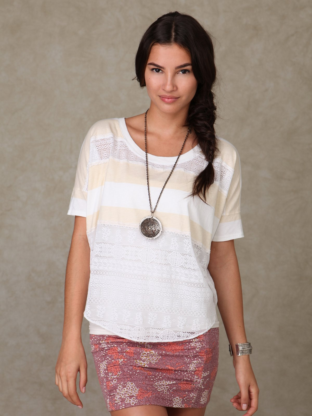 We the Free Lace & Stripe Short Sleeve Top