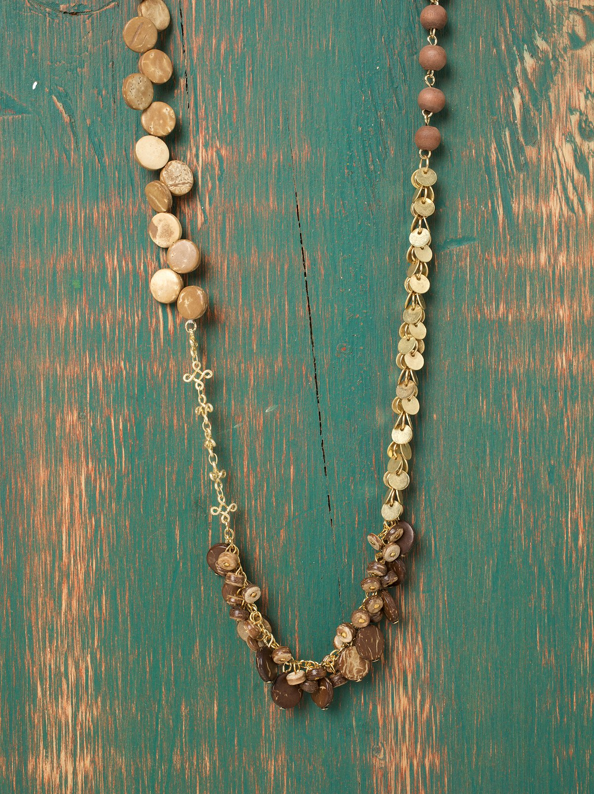 Natural Wood Layering Necklace