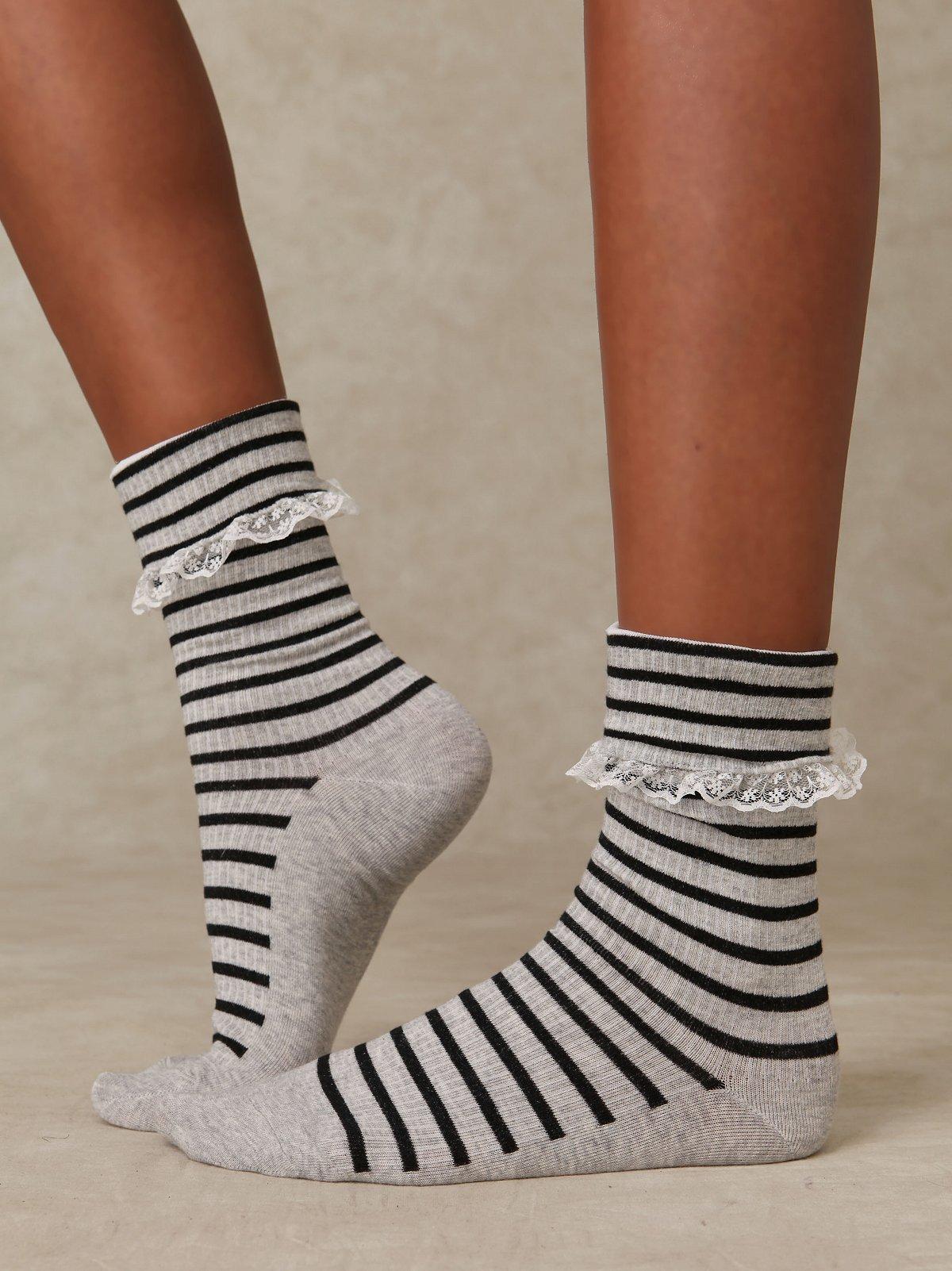 Stripe Lace Trim Slouch Sock