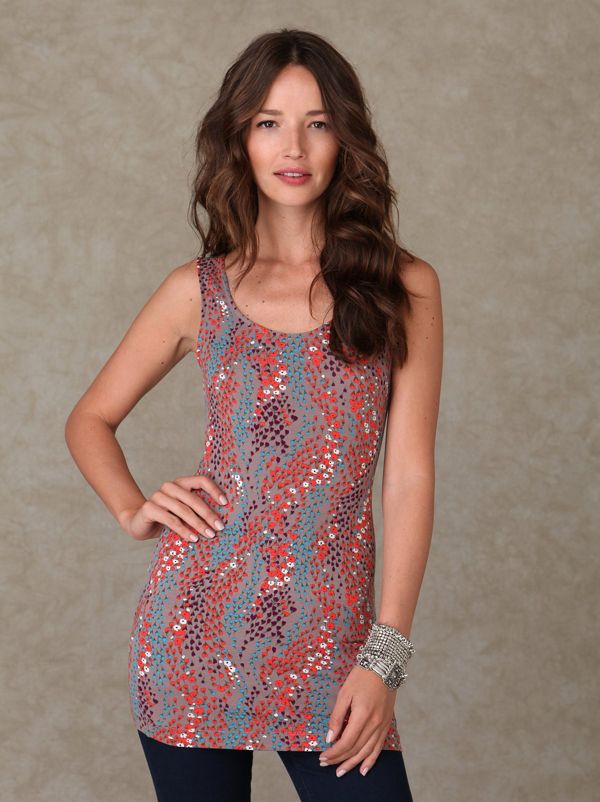 Sleeveless Floral Printed Tunic
