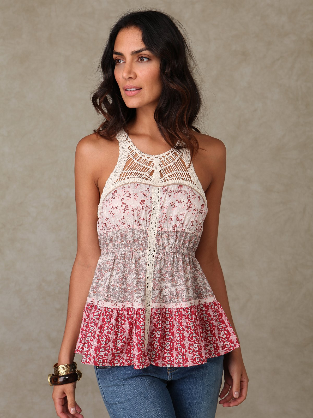 Sleeveless Printed Crochet Halter Top