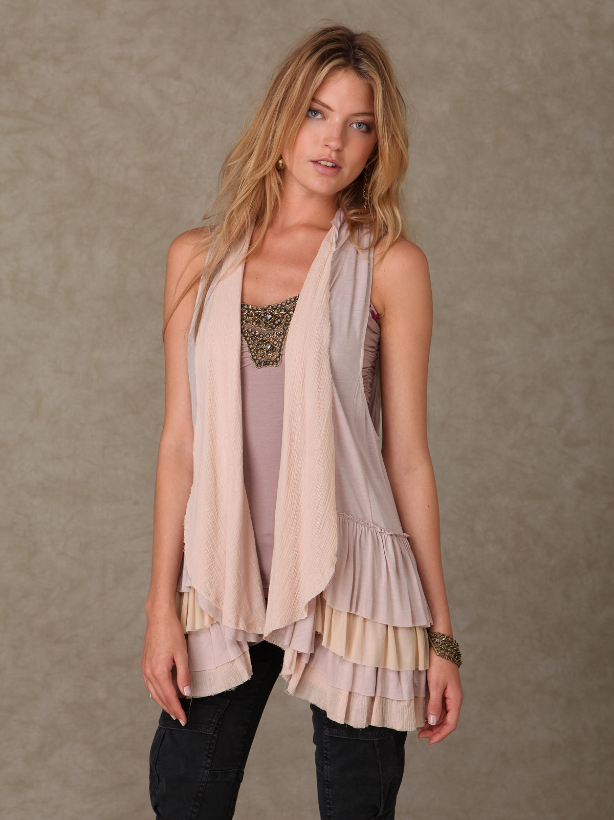 Ruffle Bottom Vest