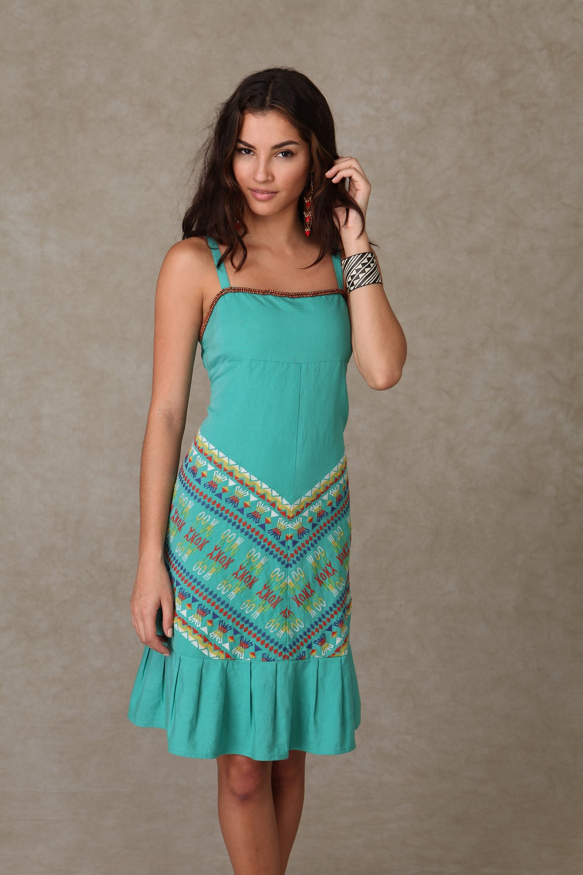 Embroidered Ruffle Hem Dress