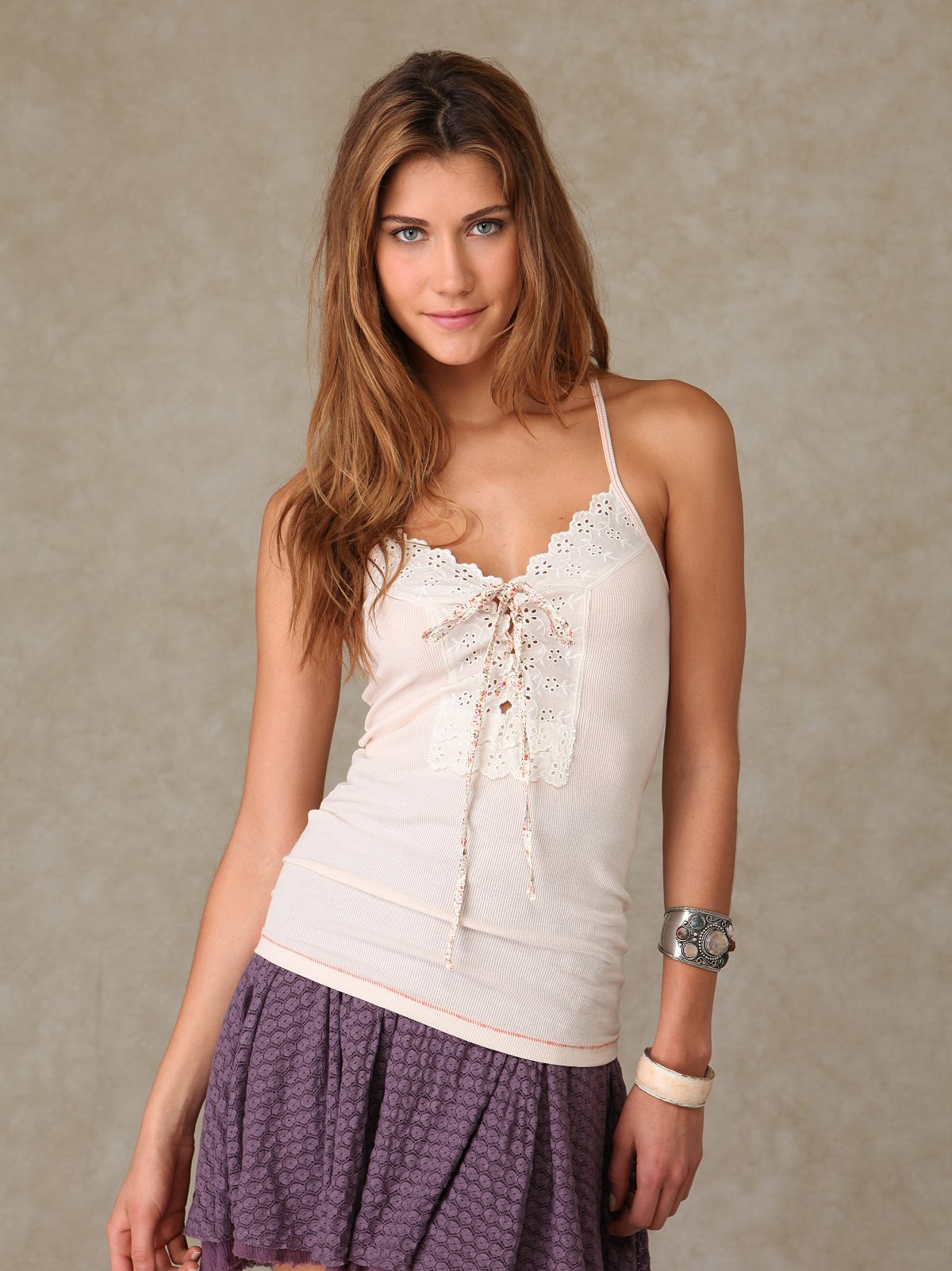 Lace Up Eyelet Cami