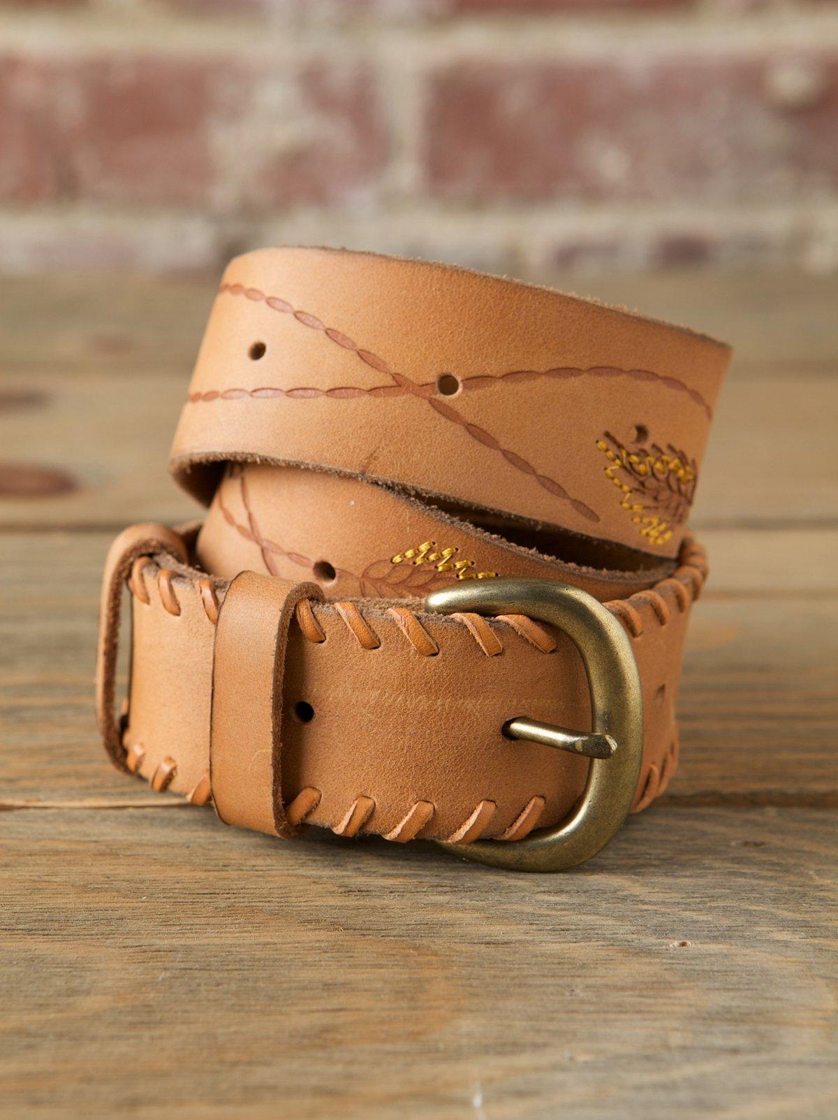 Leather Embossed Waist Belt