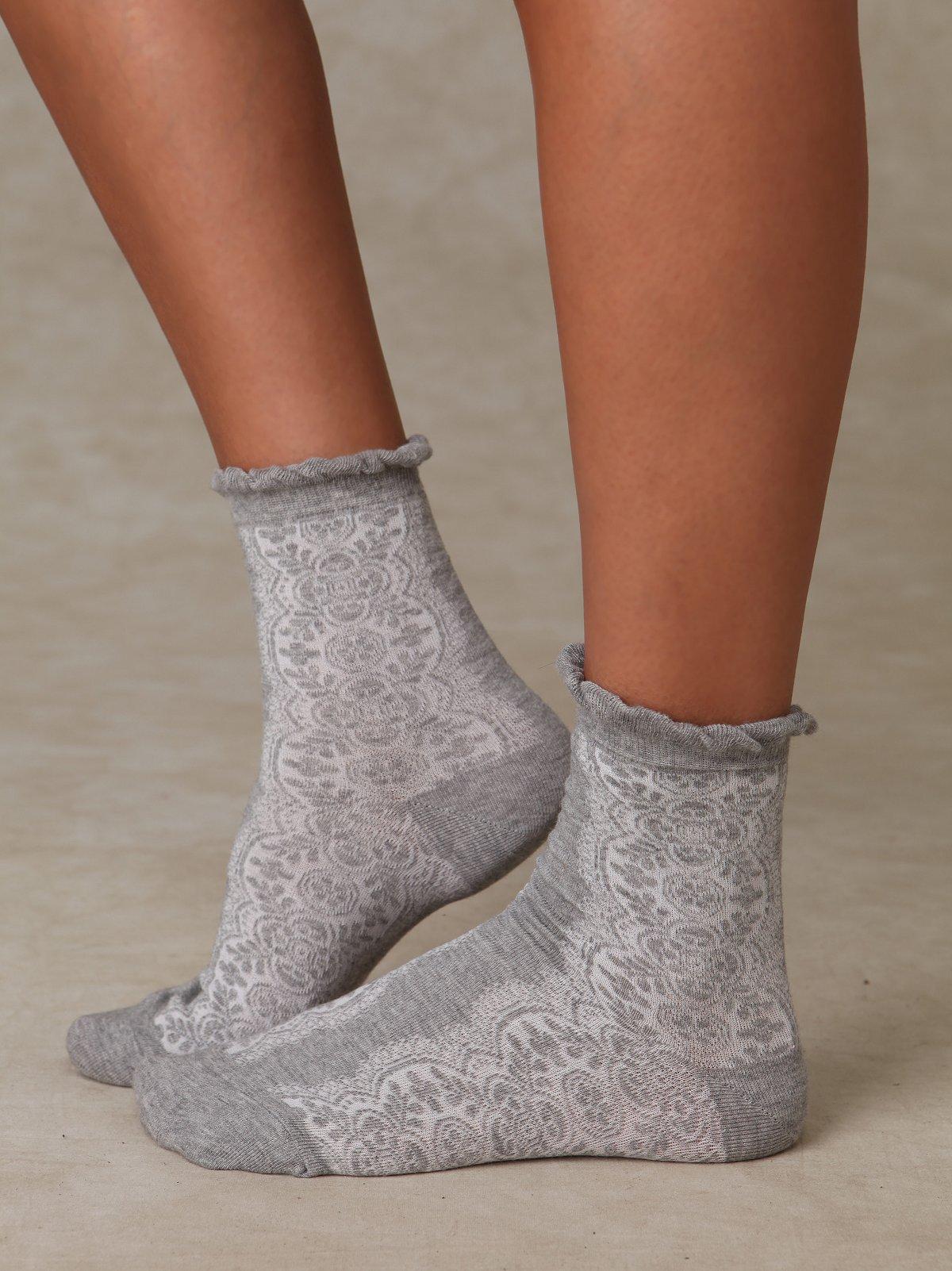 Floral Burnout Ankle Sock