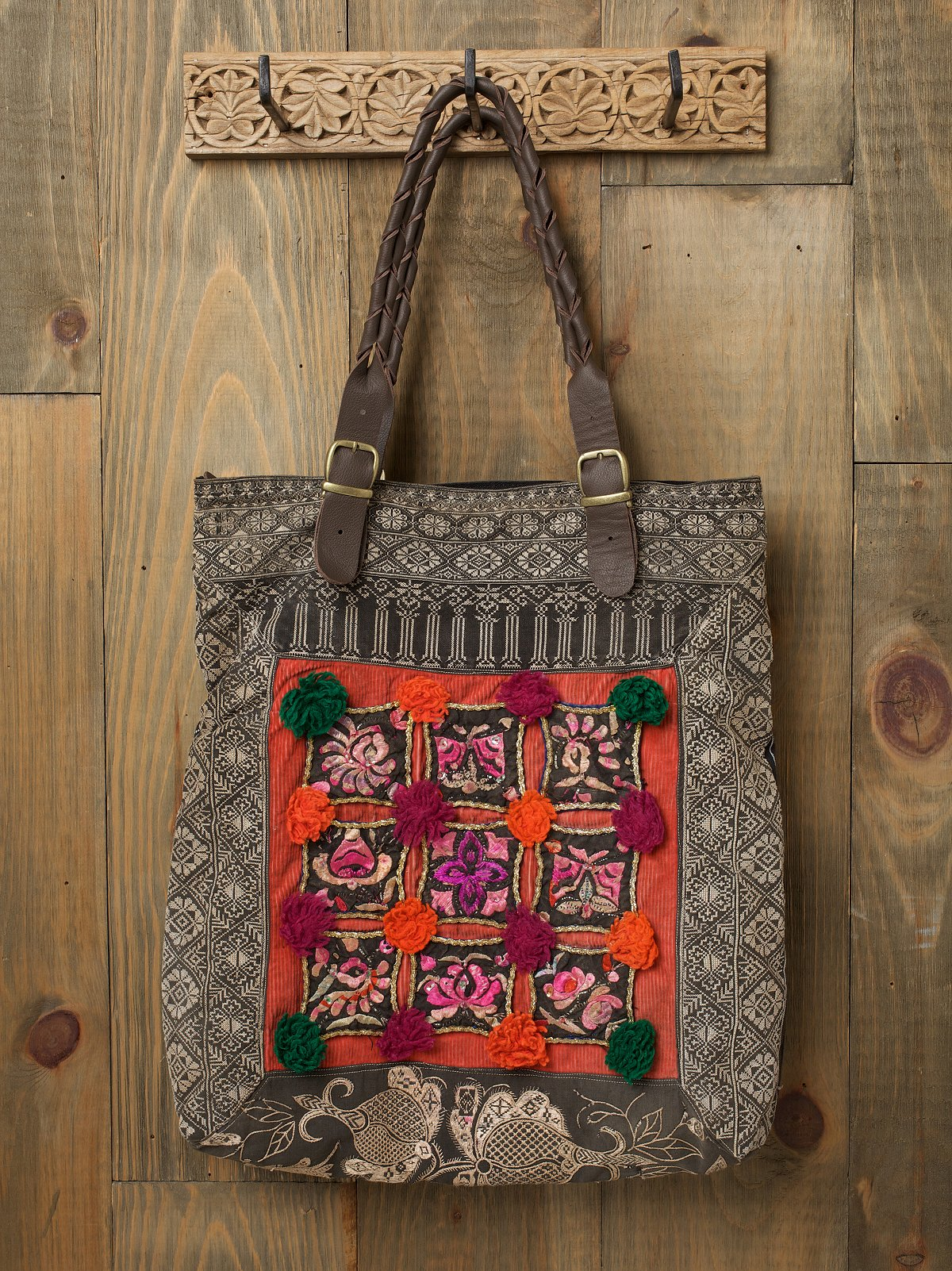 Embroidered Vintage Tote