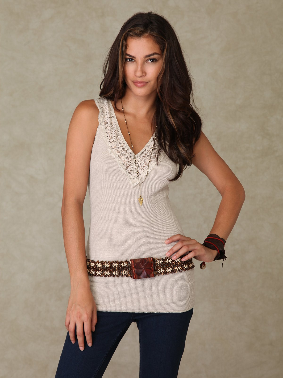 We the Free V-Neck Lace Trim Tank