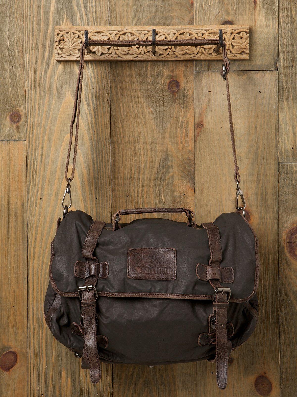 Washed Leather Canvas Messenger Bag