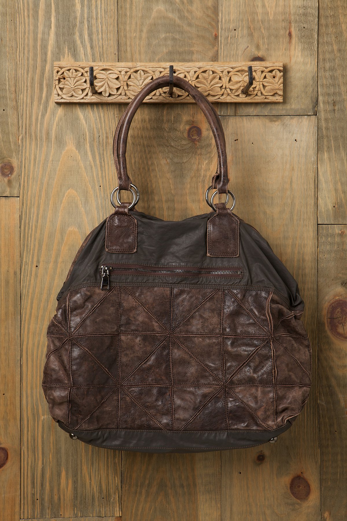 Pieced Leather Canvas Tote