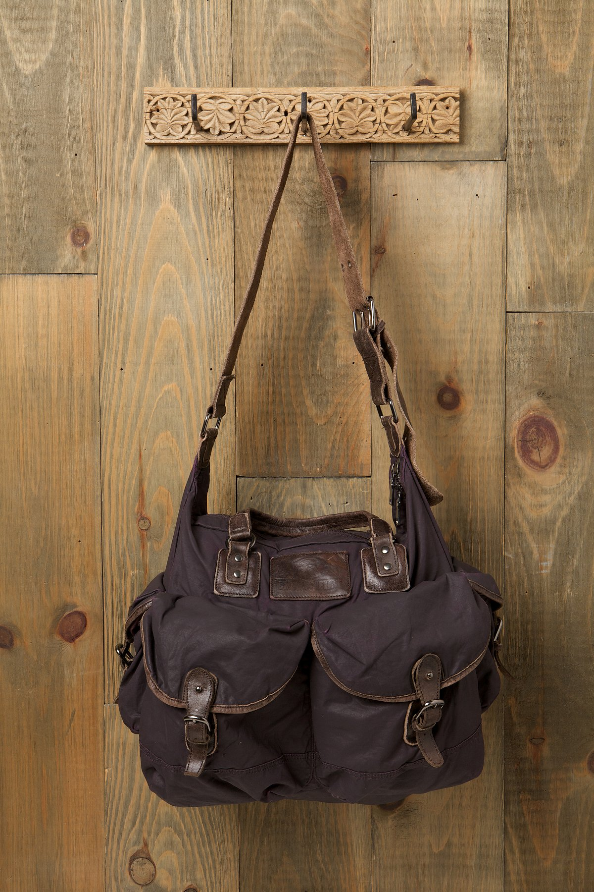 Washed Leather and Canvas Bag