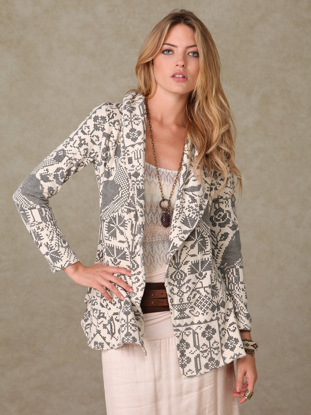 Printed Cross Stitch Coat