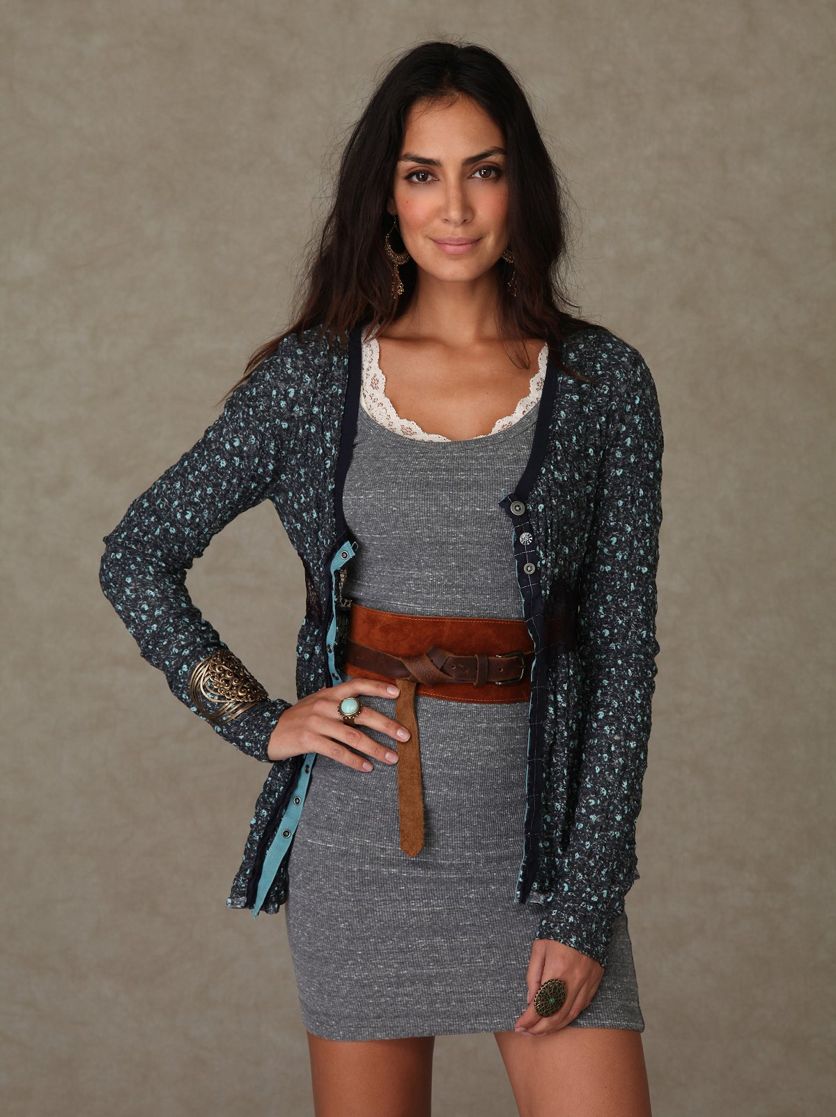 Ditsy Lacey Waist Crepe Tunic