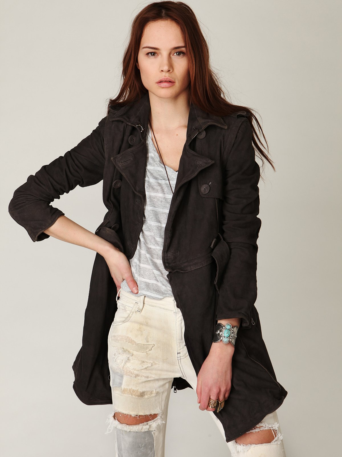 Muu Baa Convertible Leather Trench Coat