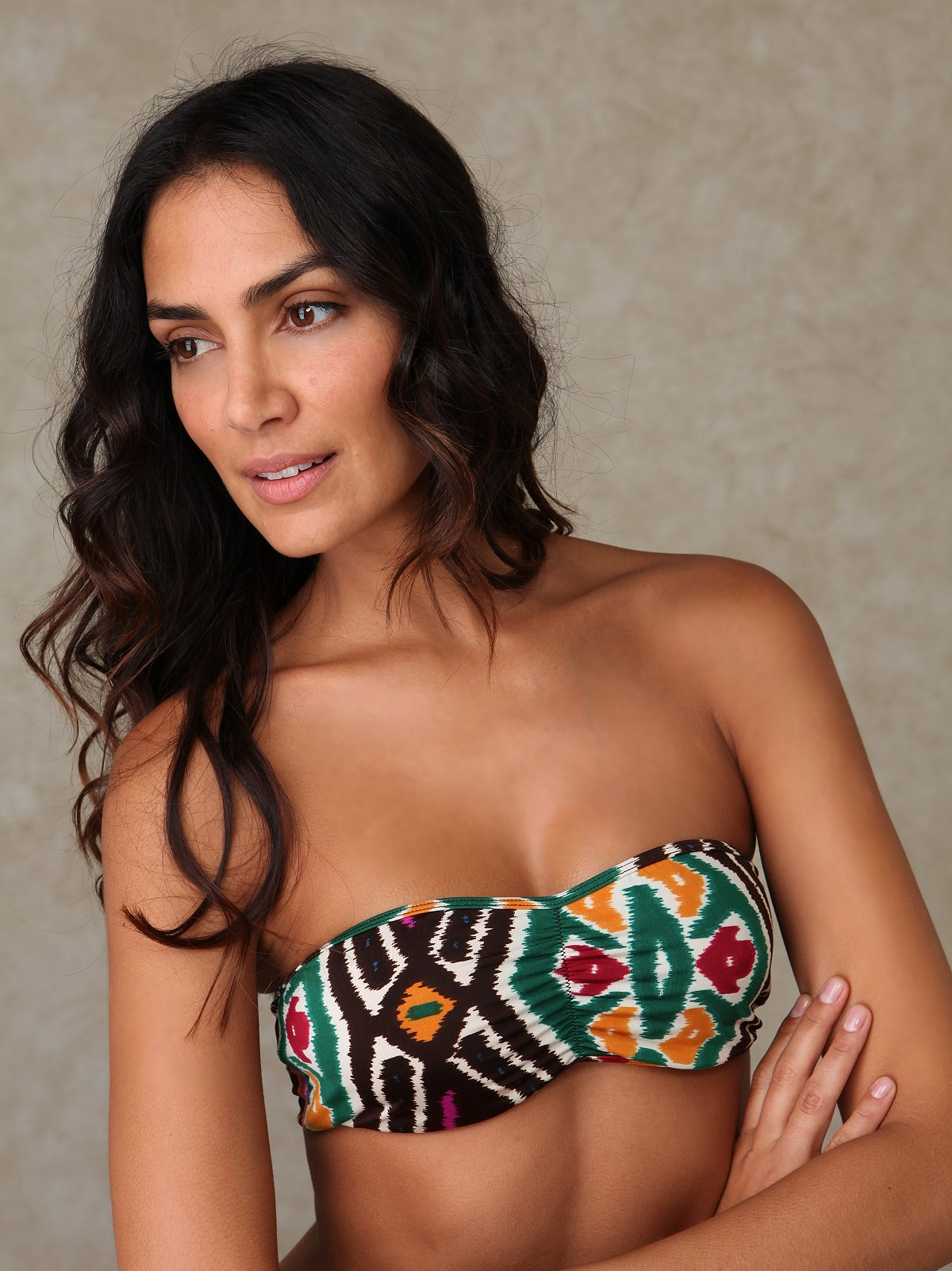 Cinched Printed Knit Bandeau
