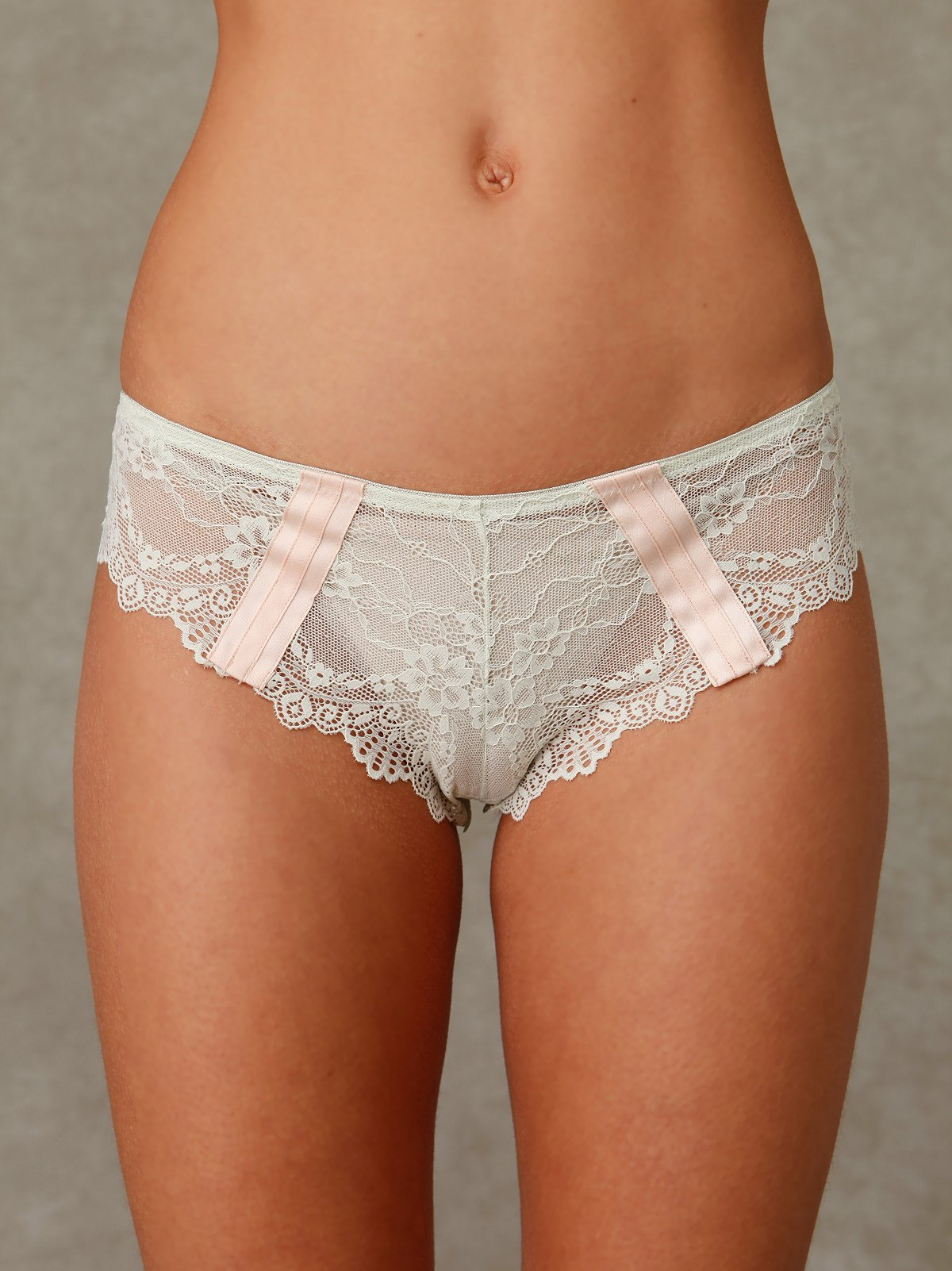 Scalloped Lace Pantie with Stripes