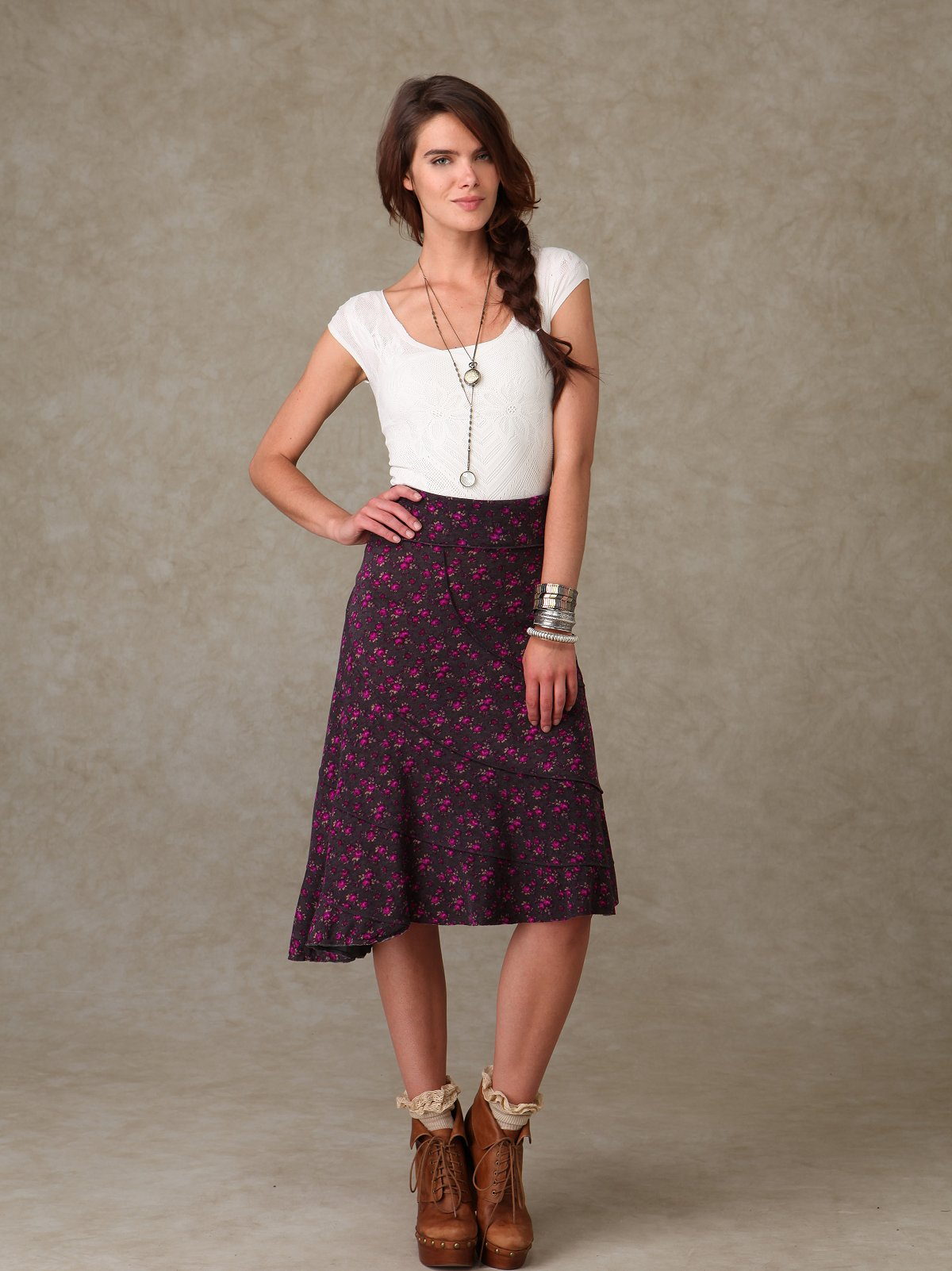 Asymmetrical Floral Knit Skirt
