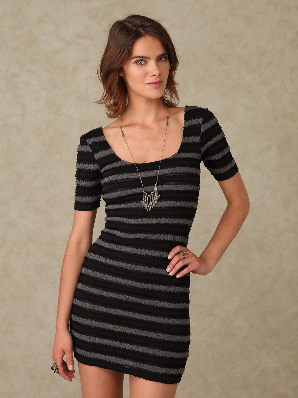 Puckered Striped Short Sleeve Slip