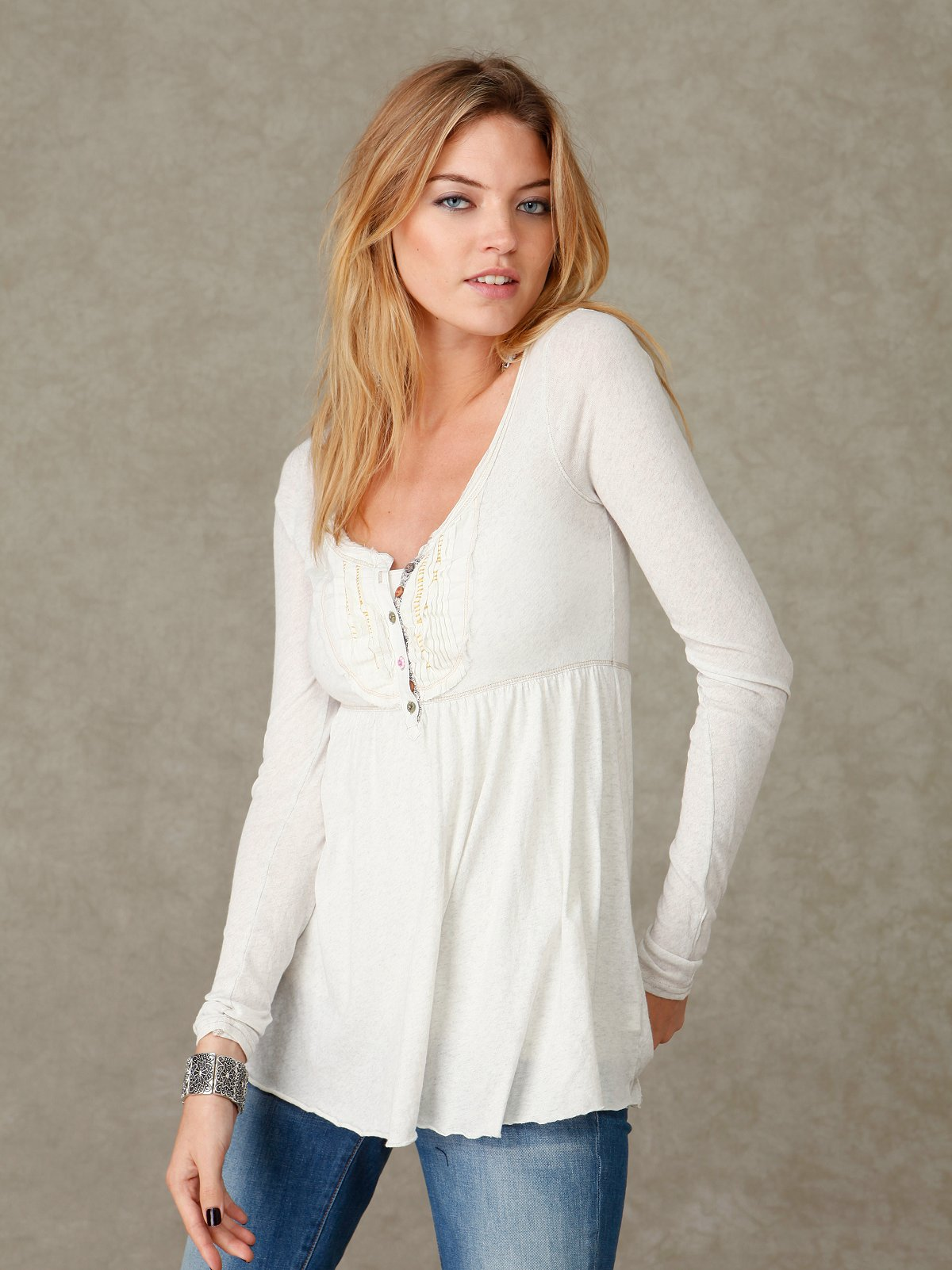 Long Sleeve Boho Buttondown Henley