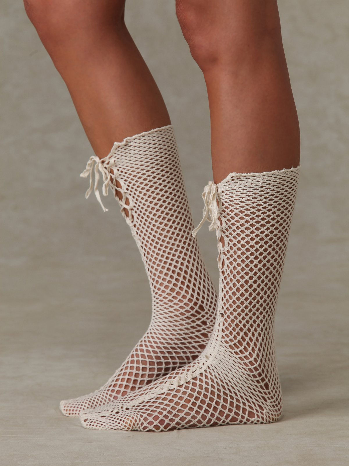 Lace Up Crochet Knee Highs