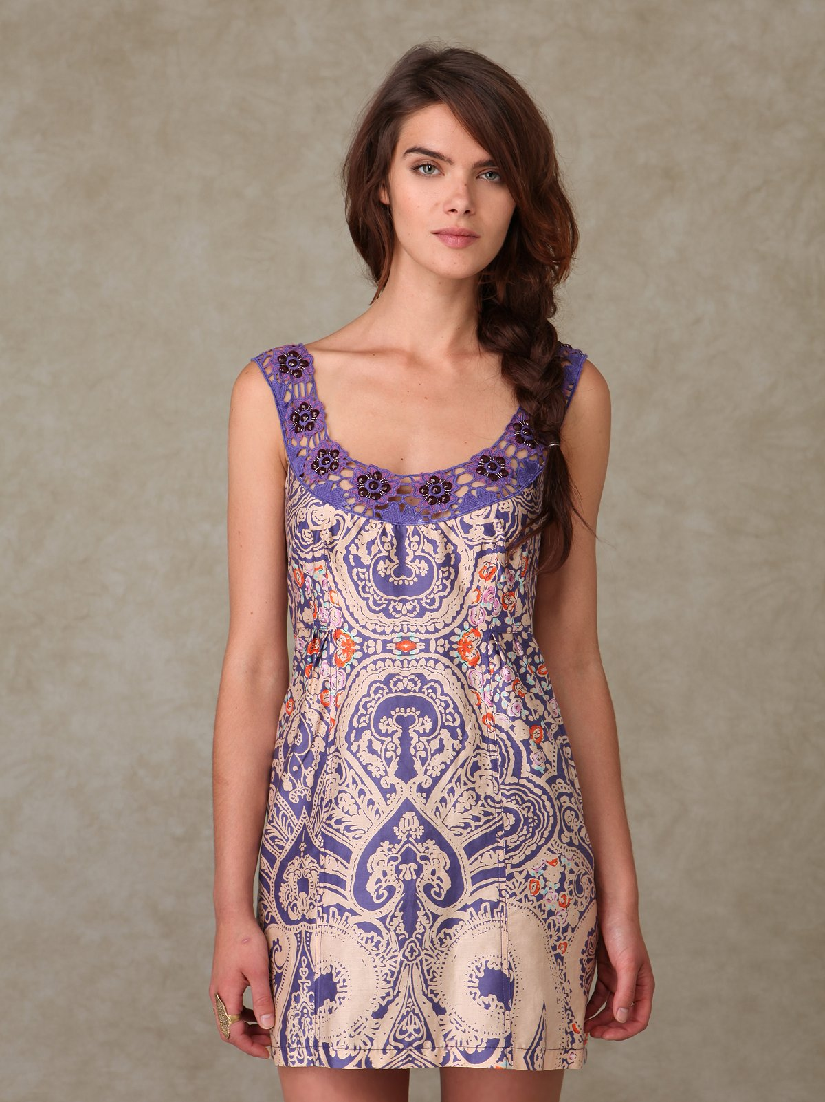 Embroidered Print Shift Dress