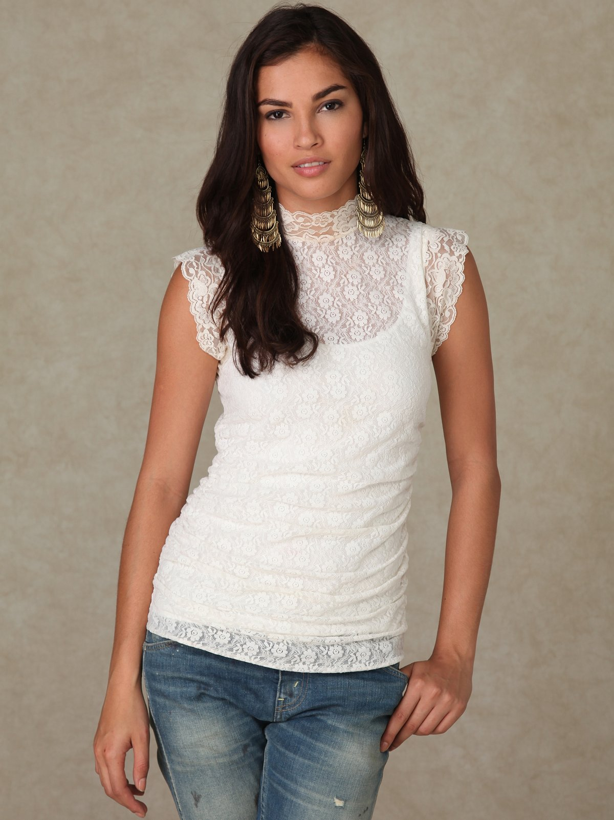 Sahara Mock Neck Lace Top