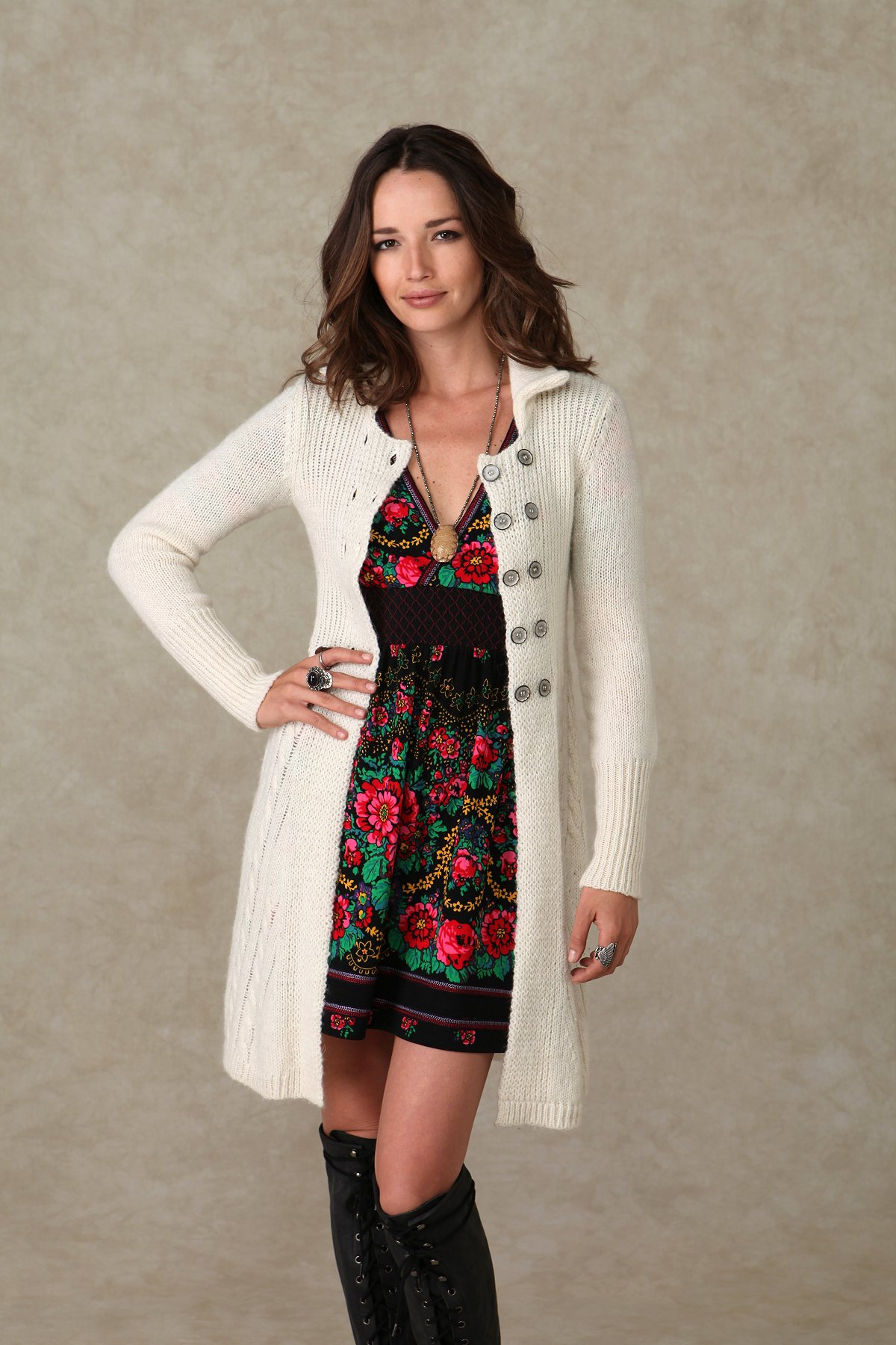 Cable Double Breast Long Cardigan