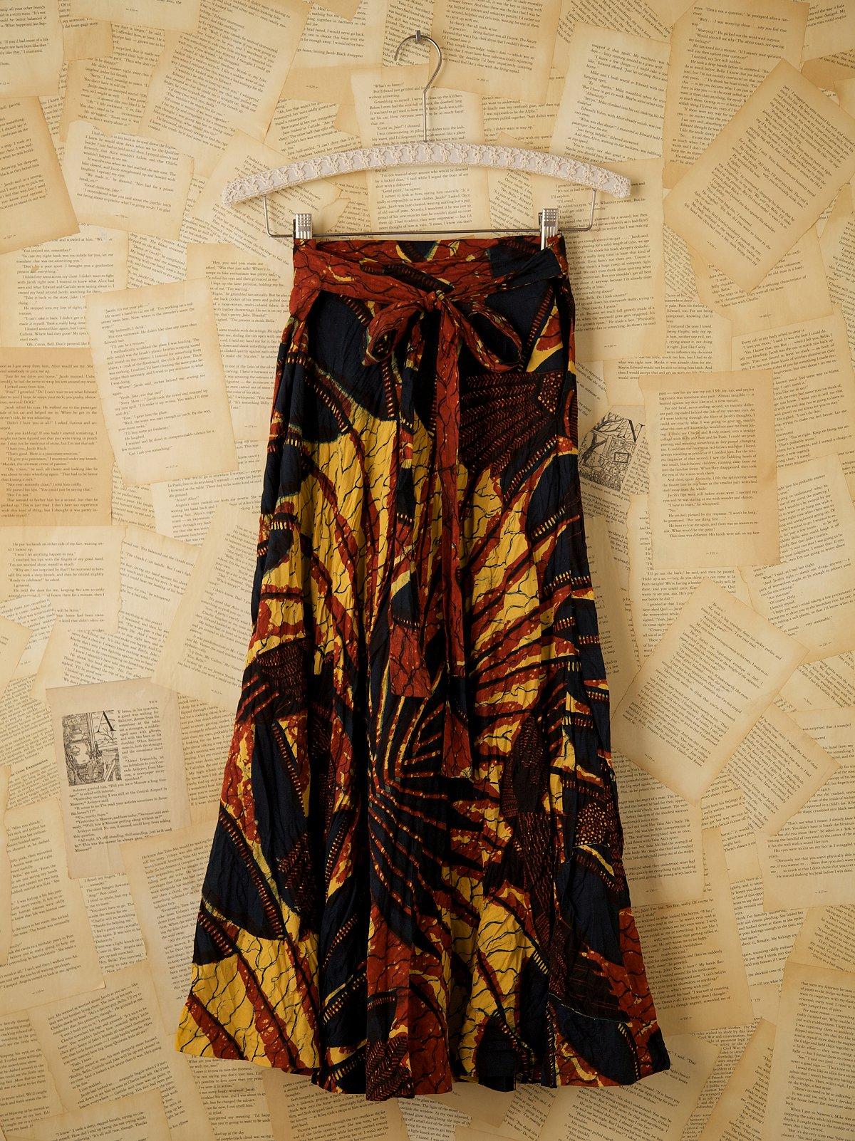Vintage Long Printed Wrap Skirt