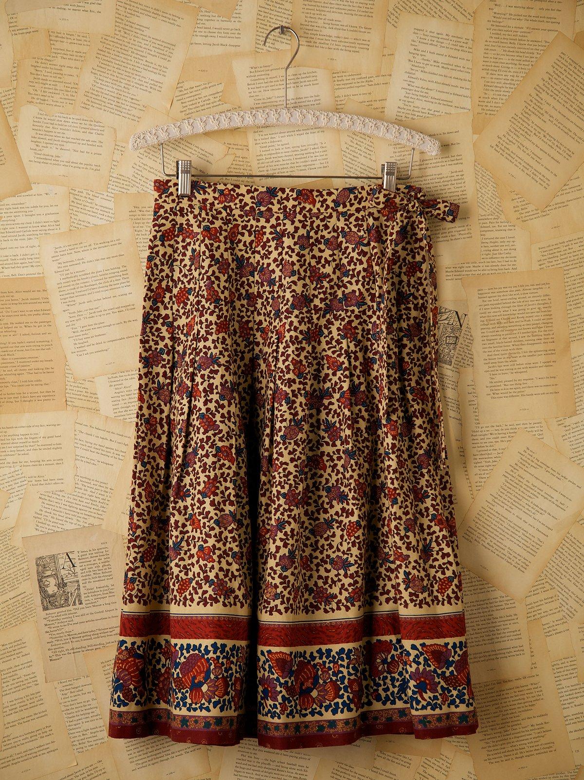 Vintage Floral Printed Wrap Skirt