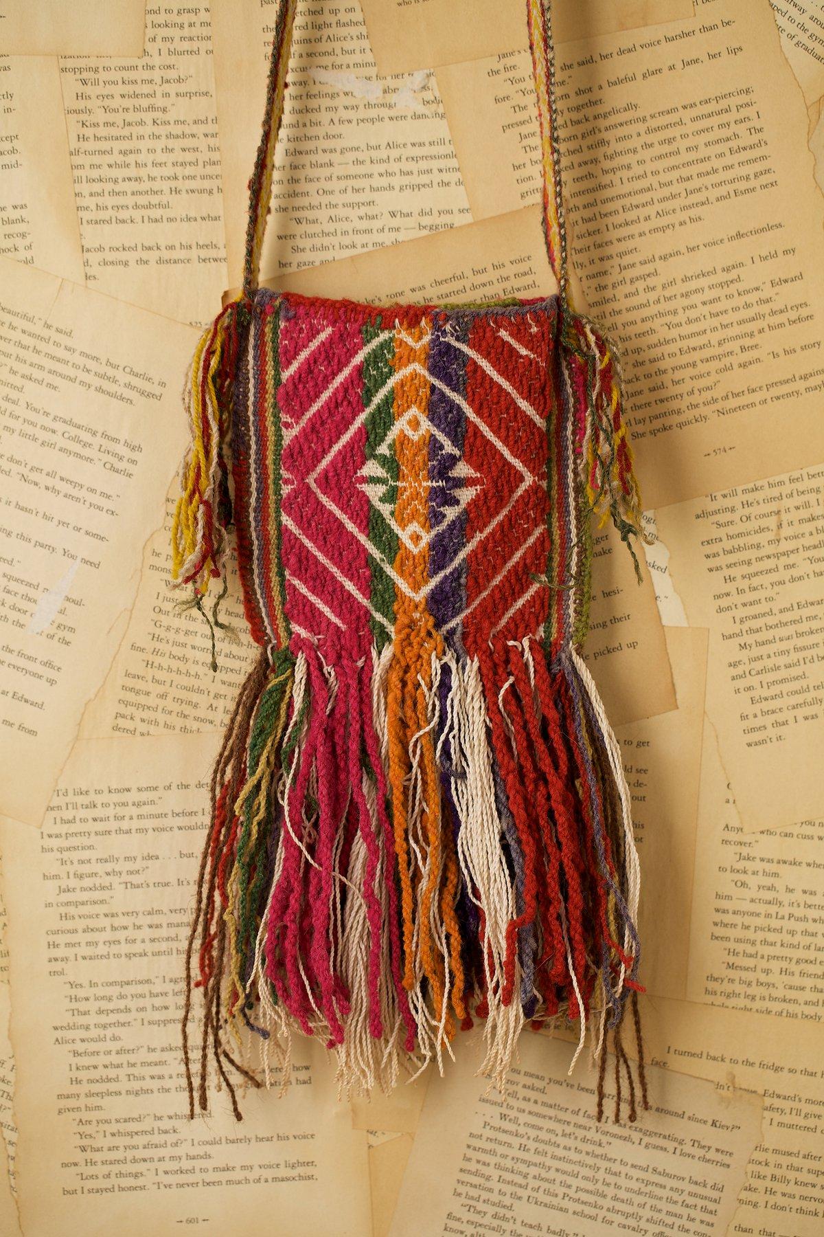 Vintage Multicolored Wool Peruvian Bag