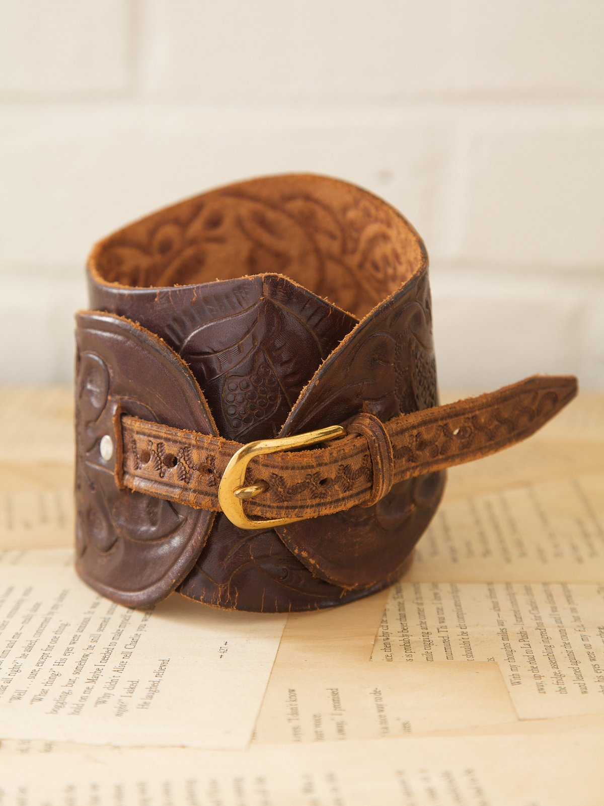 Vintage Wide Tooled Belt