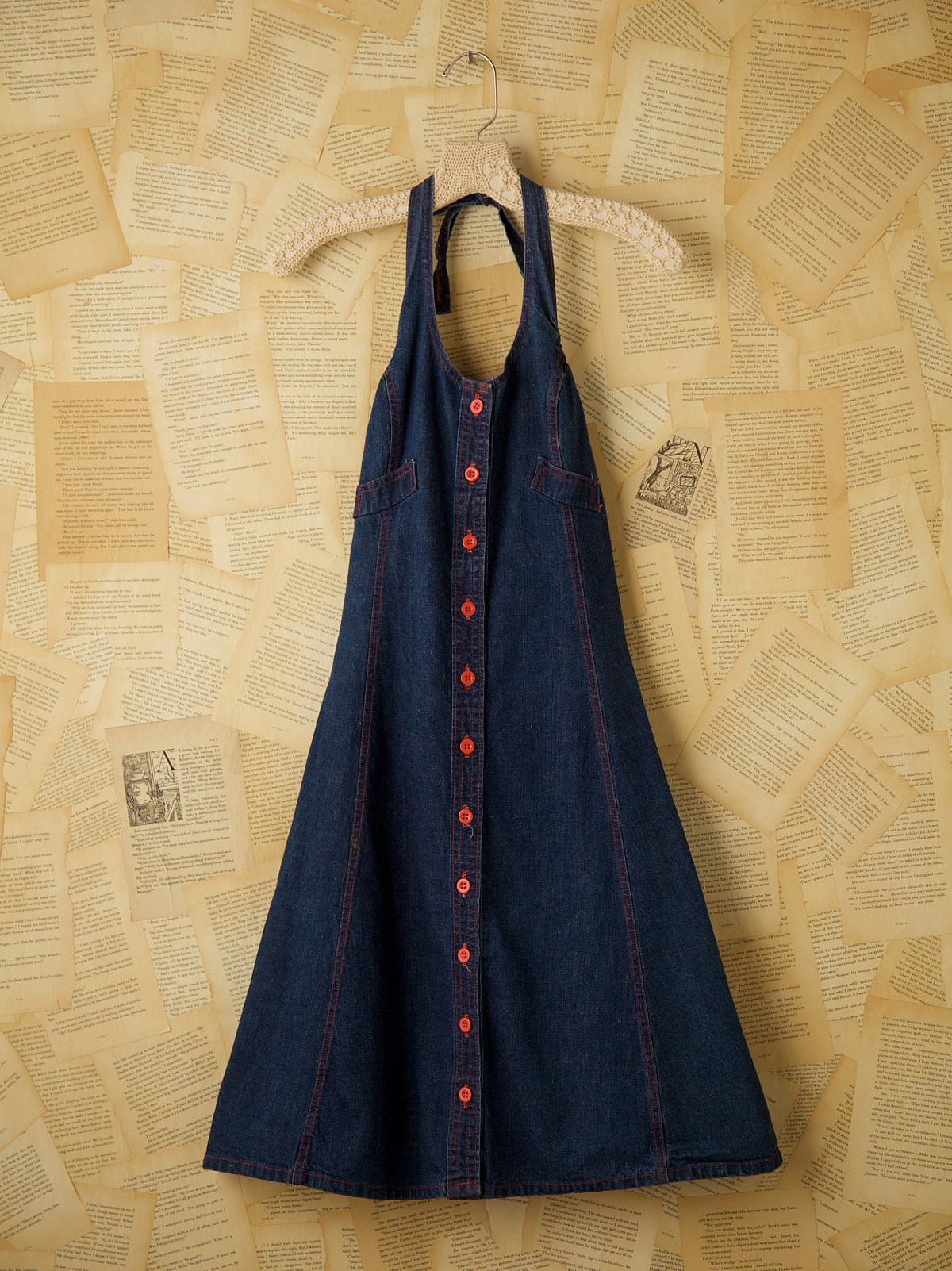 Vintage Denim Halter Dress
