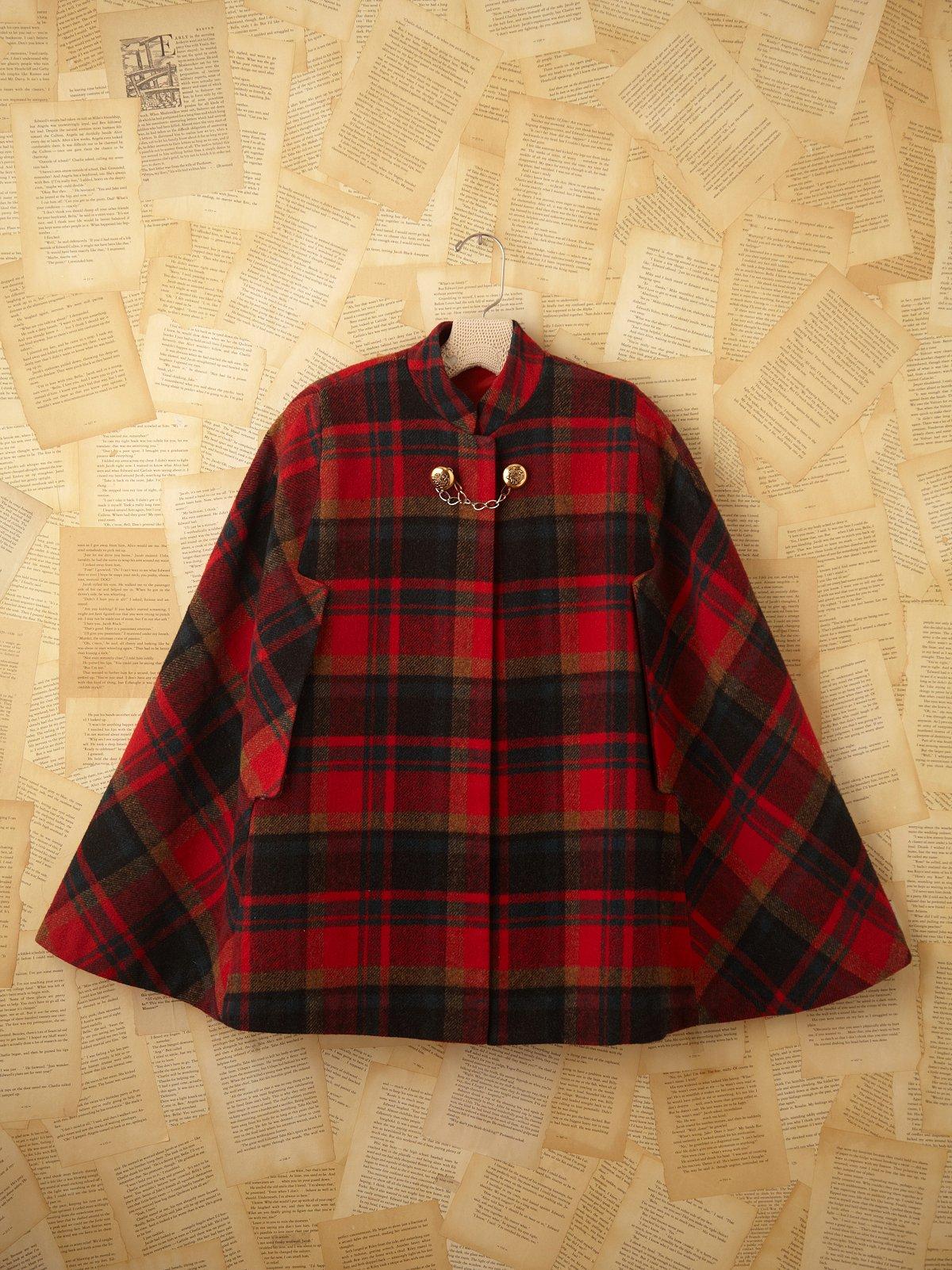 Vintage Red Plaid Wool Cape