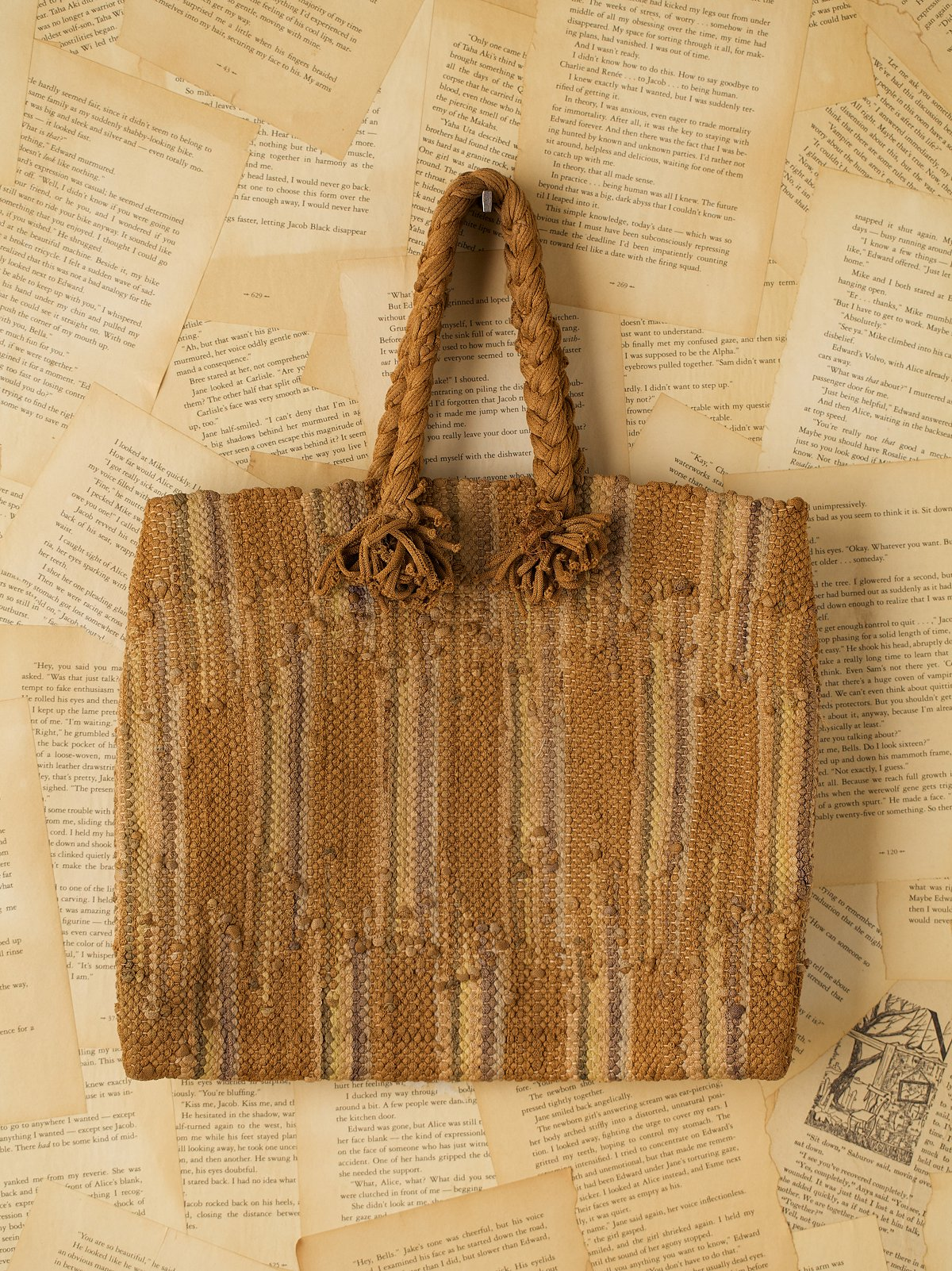 Vintage Brown Wool Blend Rope Purse