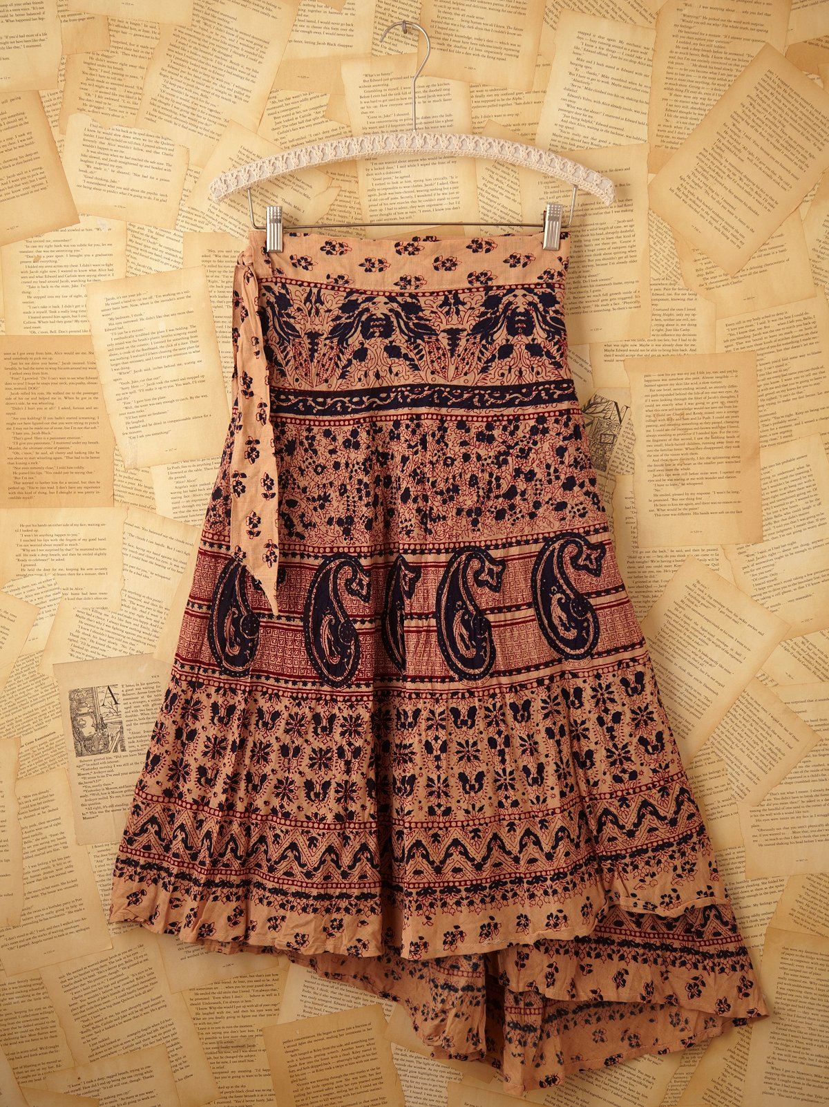 Vintage Cream Henna Wrap Skirt
