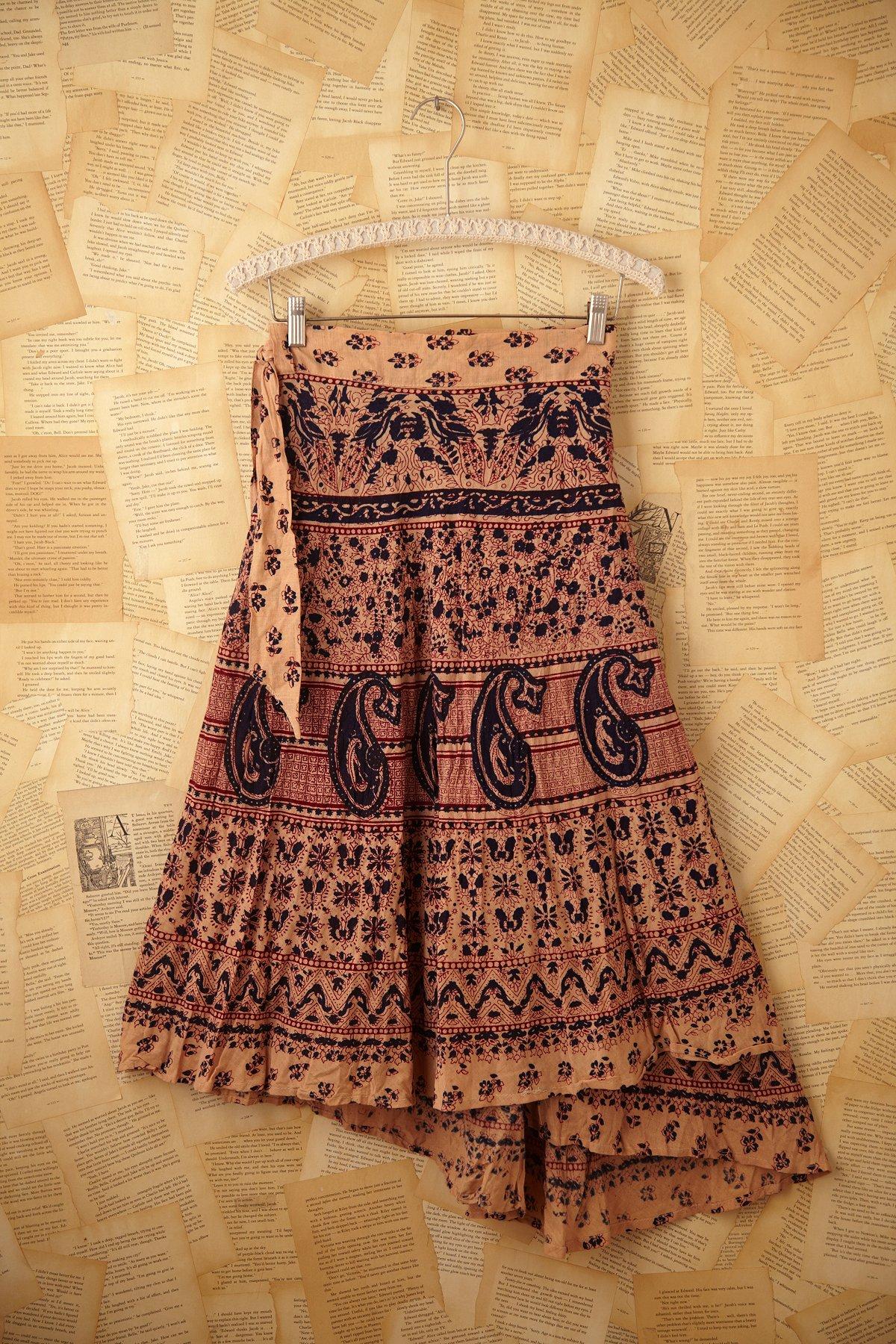 Vintage Cream Henna Wrap Skirt