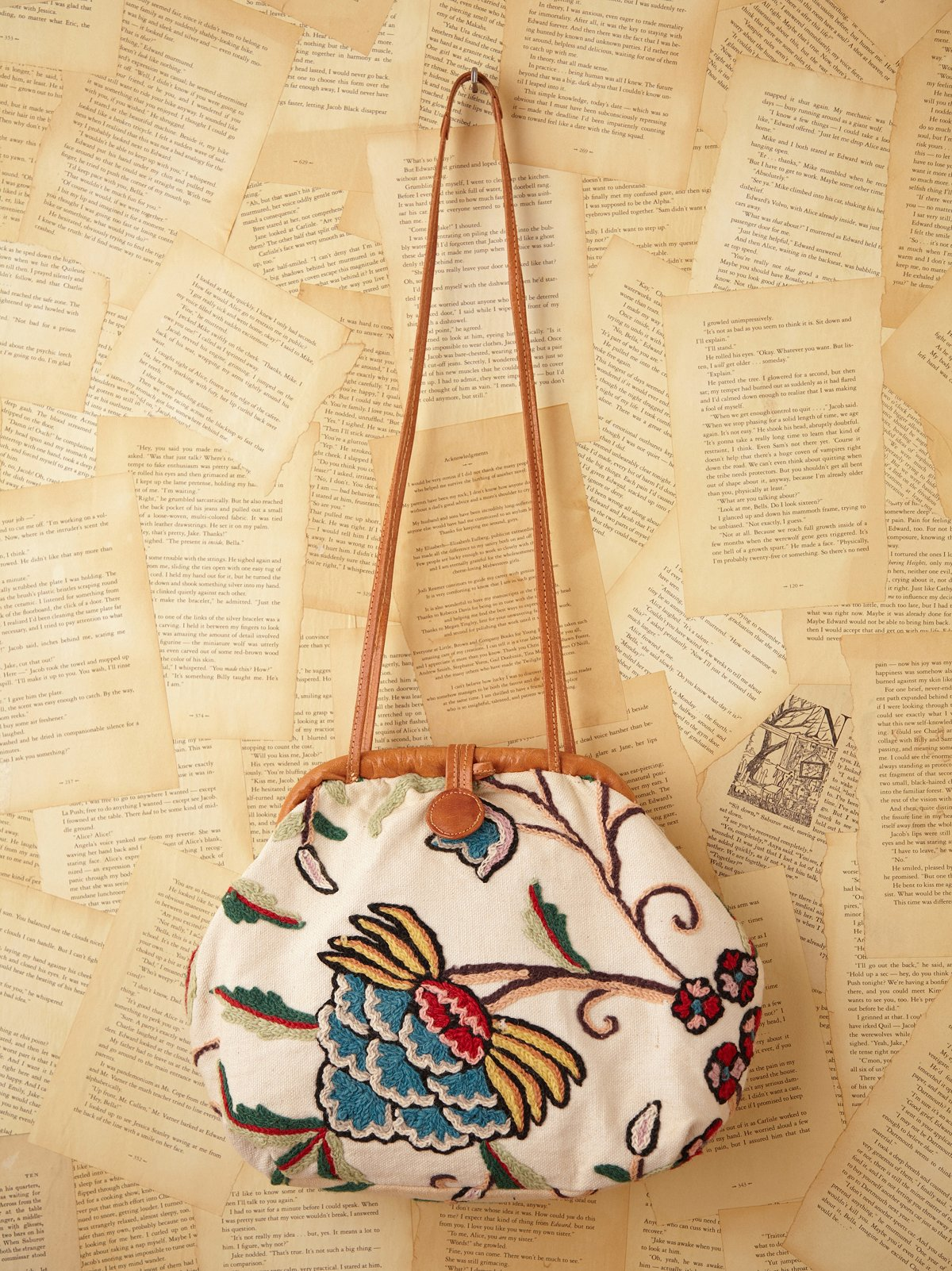 Vintage Cream Embroidered Bag with Leather Straps