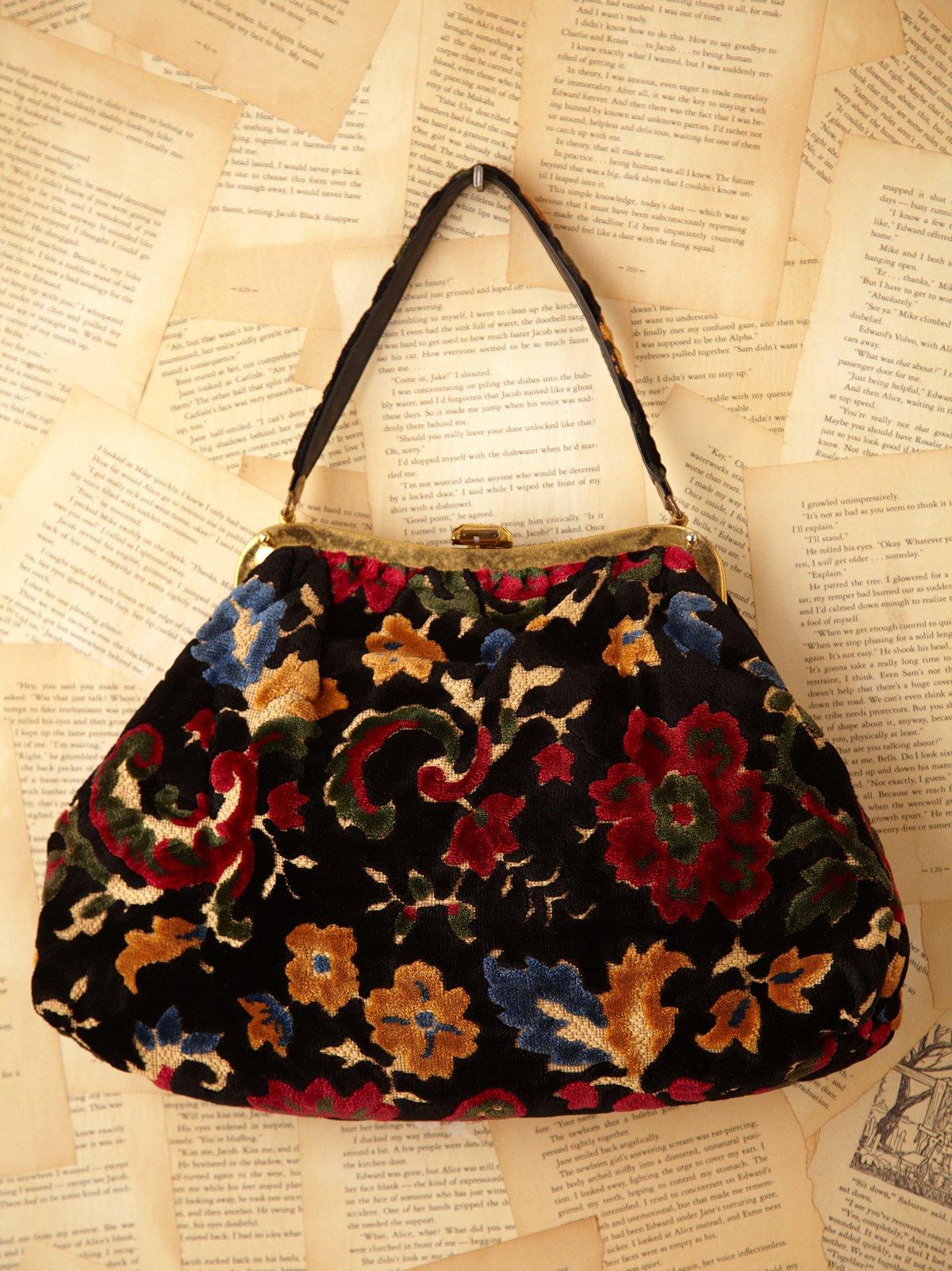 Vintage Black Floral Embroidered Velvet Bag