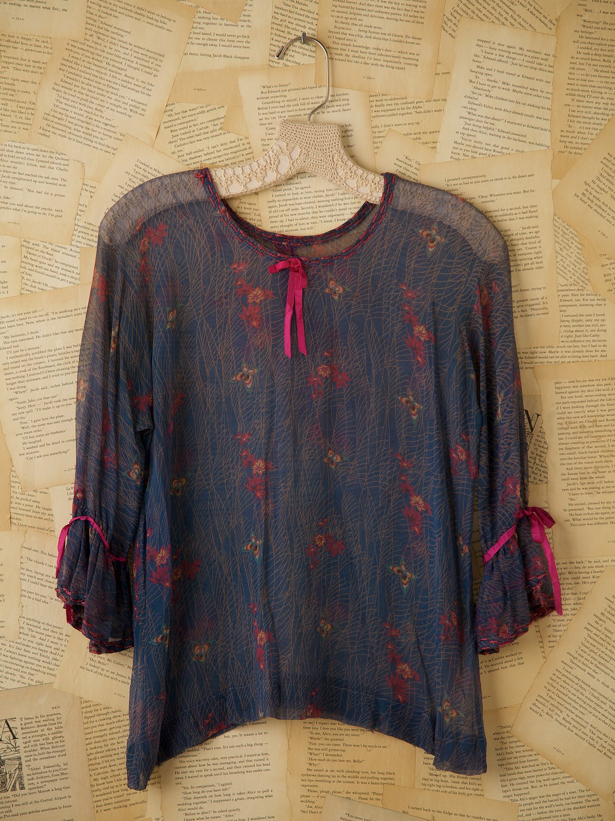 Vintage 1920s Silk Chiffon Floral Printed Blouse