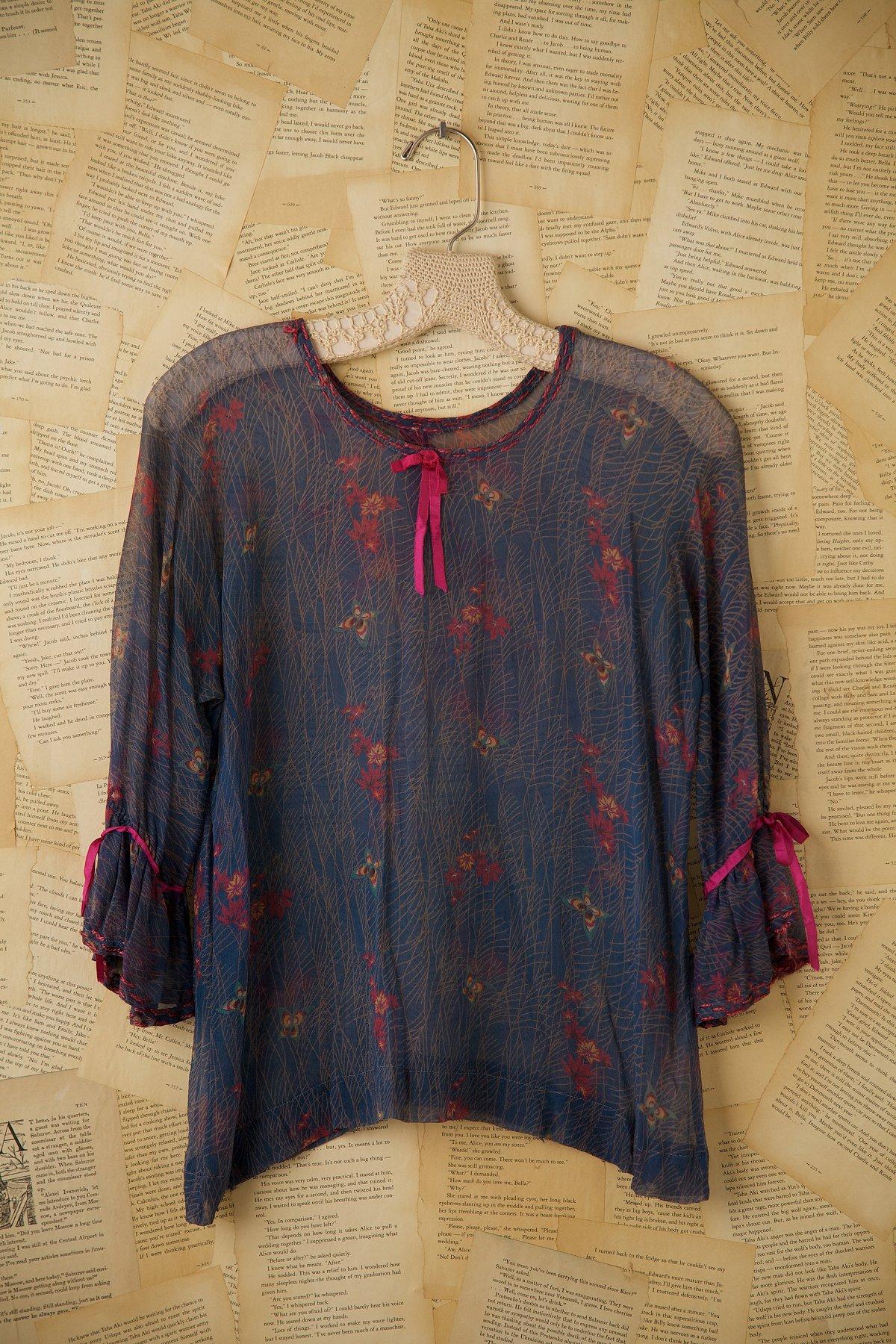 Vintage 1920s Silk Chiffon Floral Printed Blouse