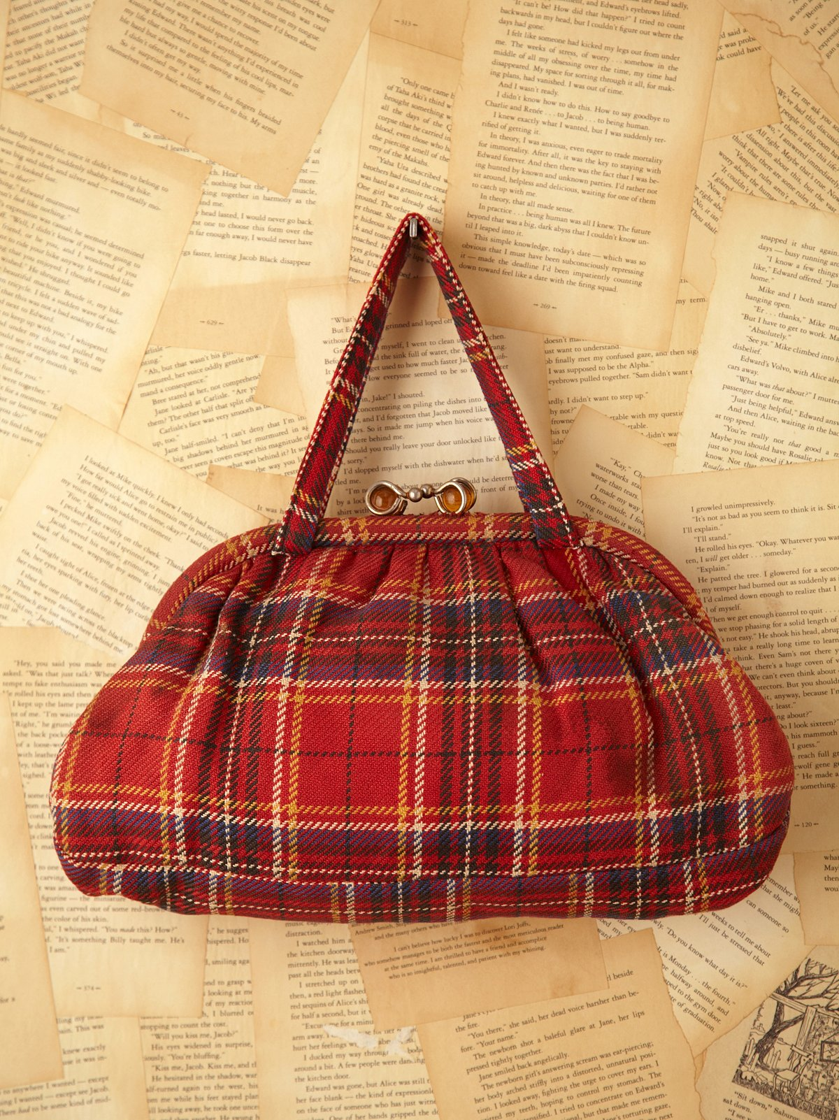 Vintage Red Flannel Plaid Bag