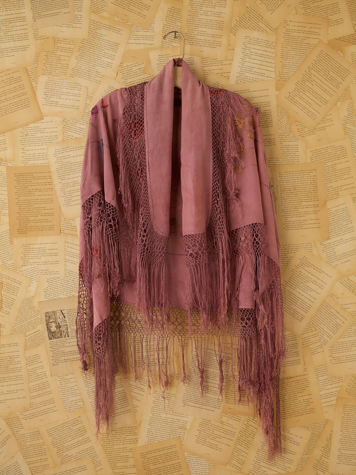 Vintage Purple Embroidered Shawl