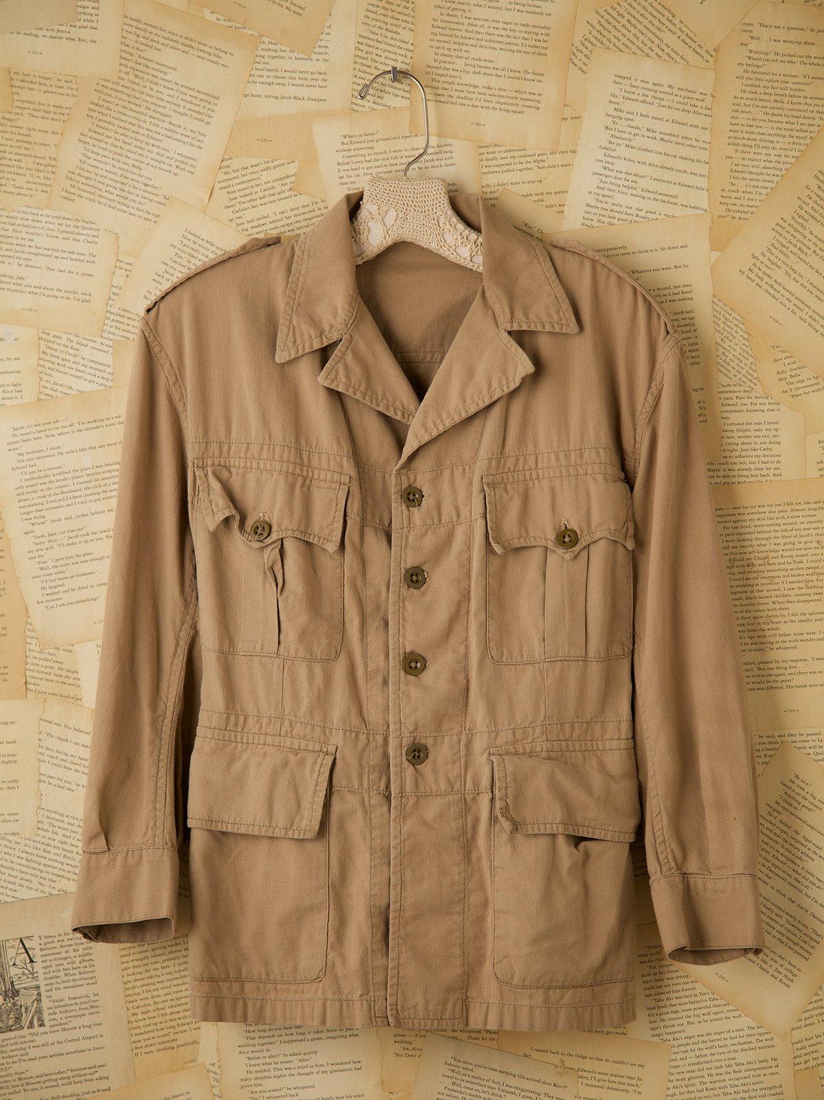 Vintage Khaki Military 4-Pocket Bush Jacket