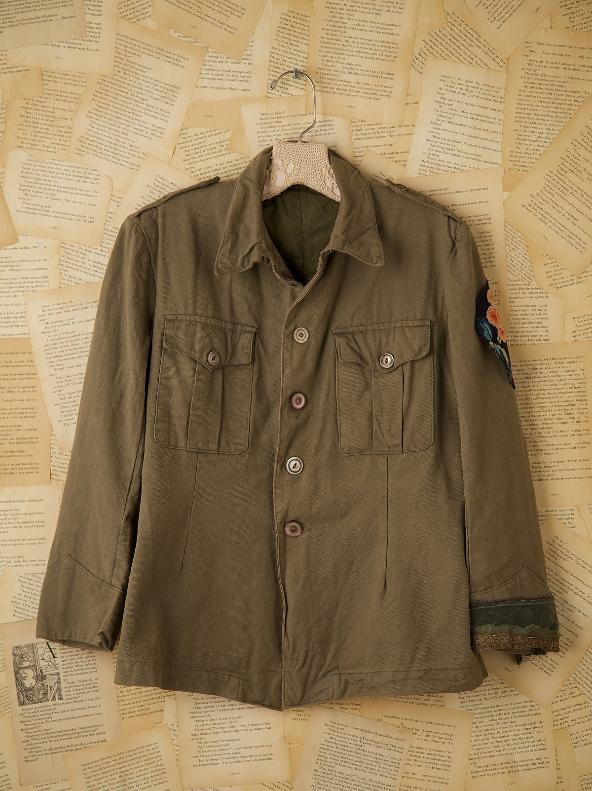 Vintage Green Military Jacket with Velvet Trim