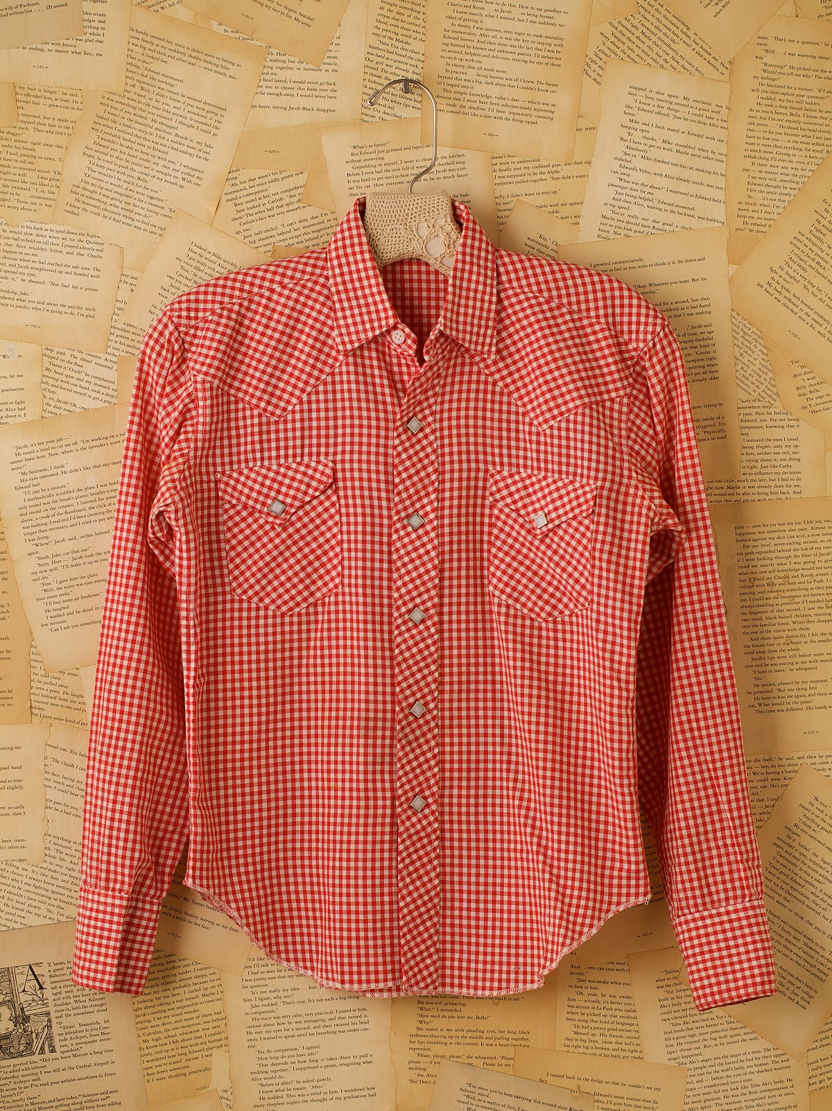 Vintage Long Sleeve Cotton Red Gingham Shirt
